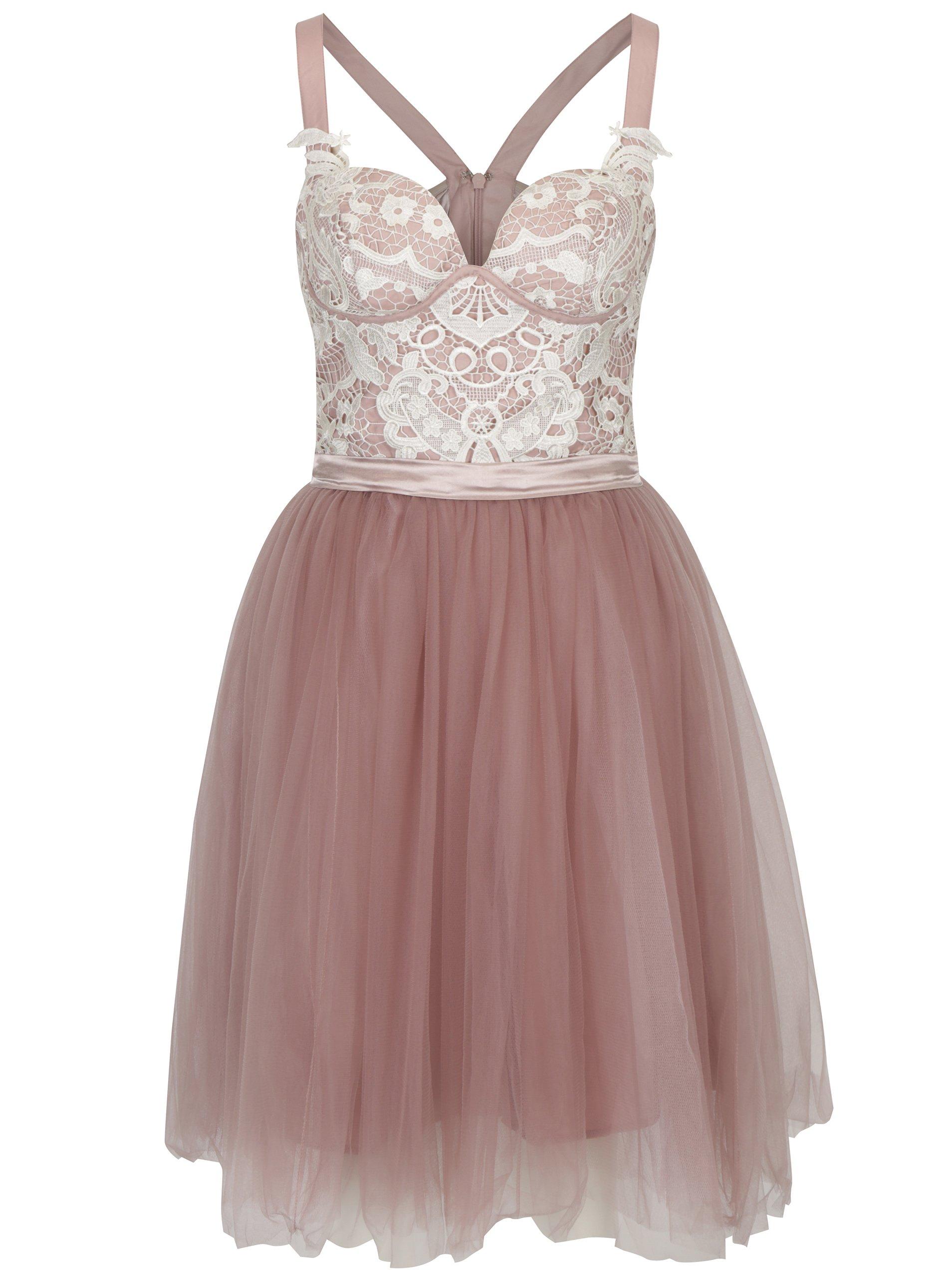 Starorůžové šaty s krajkovým topem a tylovou sukní Chi Chi London Selina
