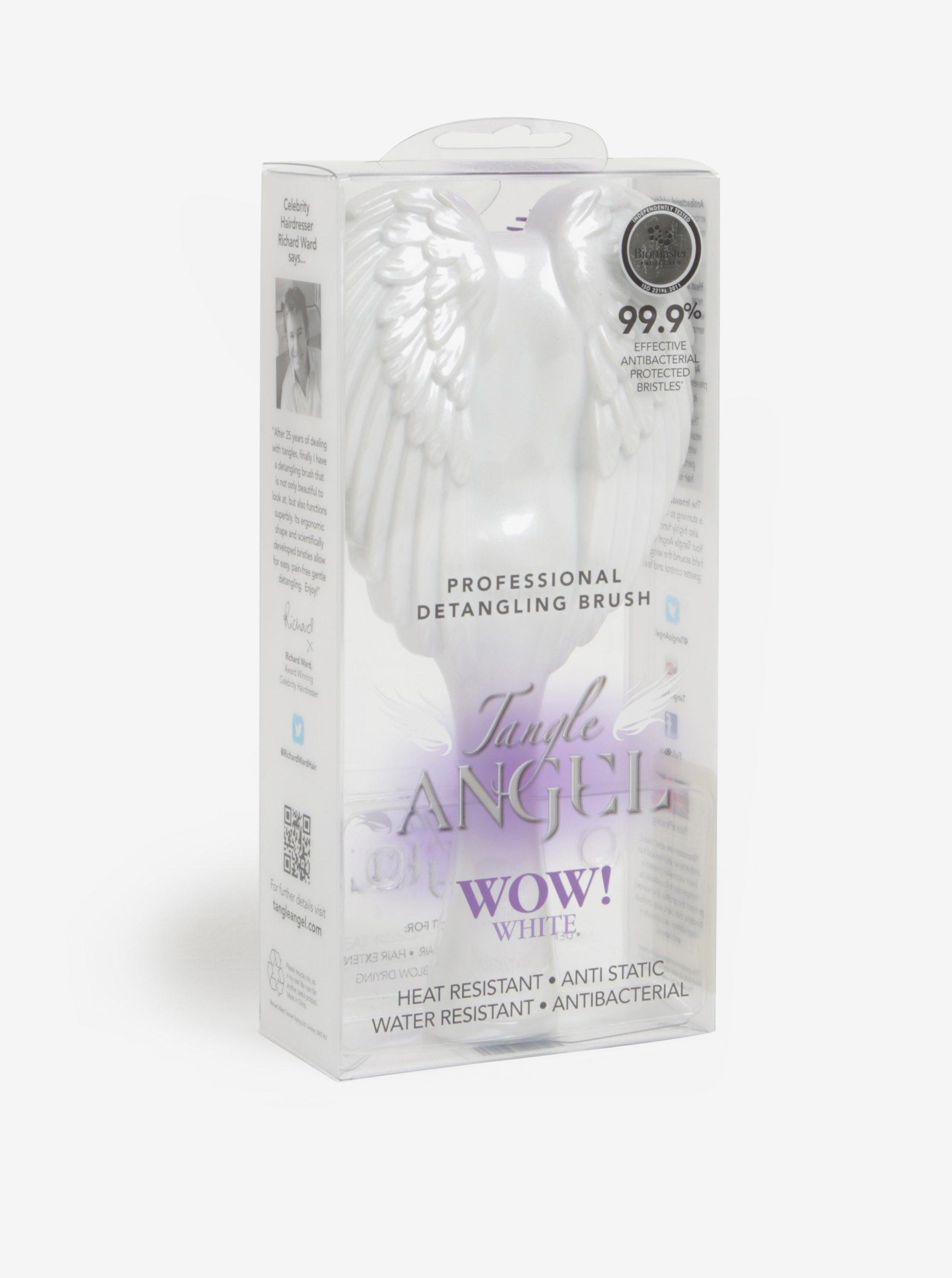 Bílý velký hřeben na vlasy ve tvaru andělských křídel Tangle Angel
