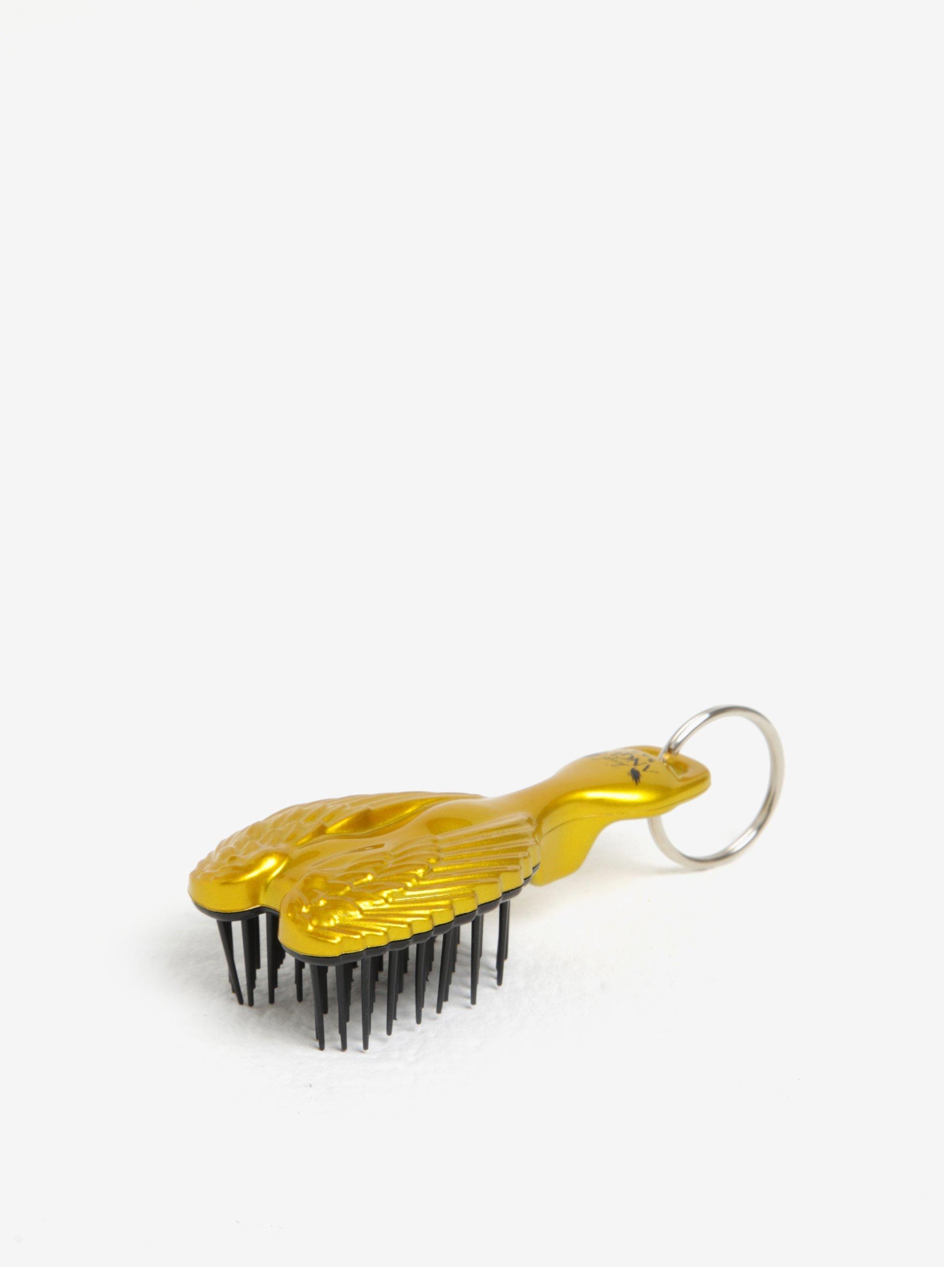 Klíčenka hřeben na vlasy ve tvaru andělských křídel ve zlaté barvě Tangle Angel Baby