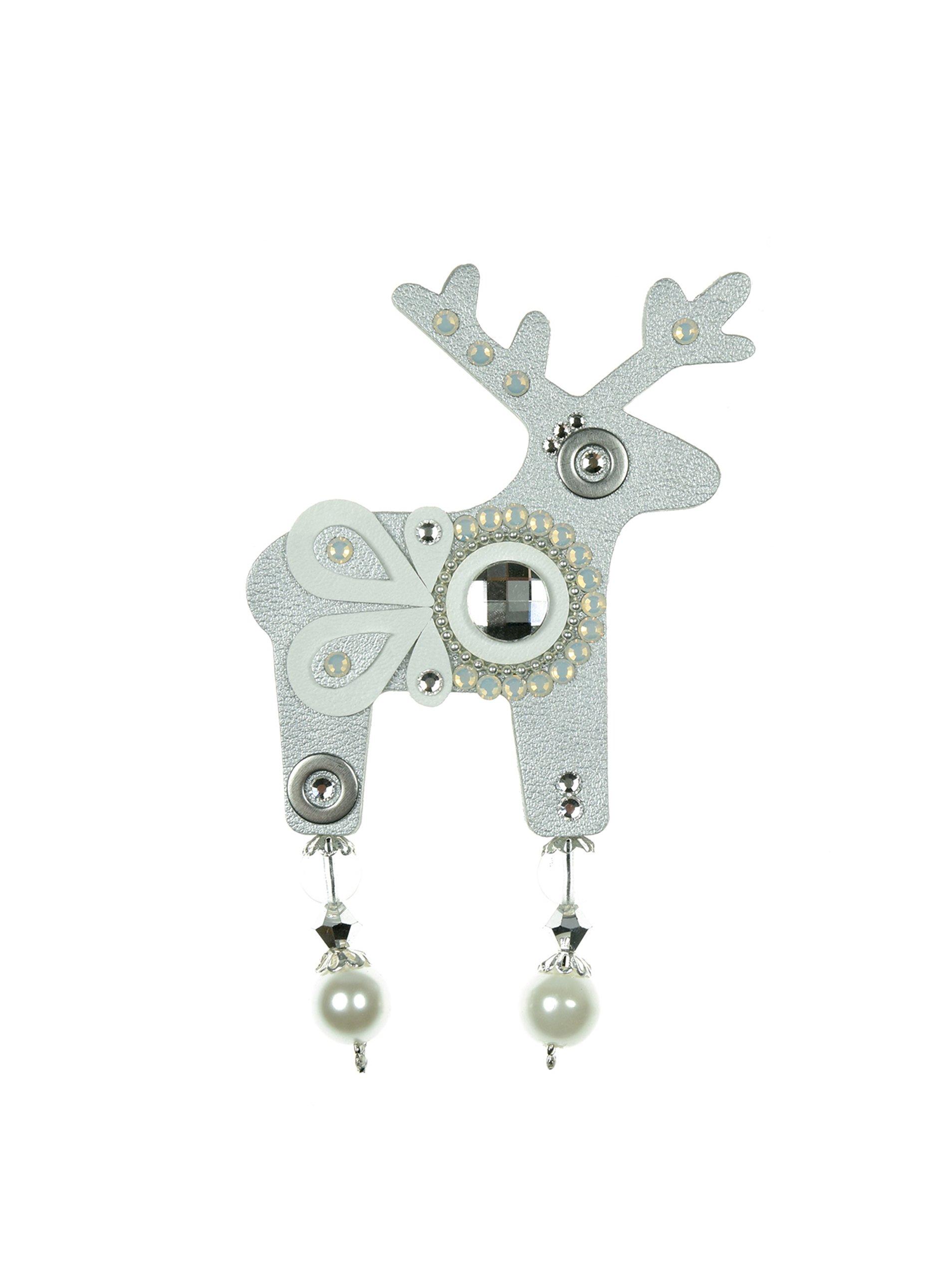 Velká brož jelínek ve stříbrné barvě s komponenty Preciosa Components Deers
