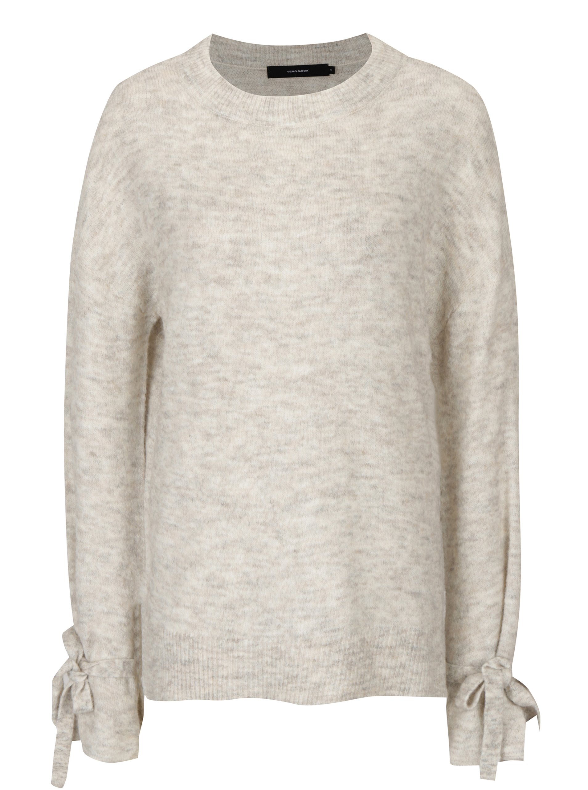 Krémový melírovaný sveter s mašľami VERO MODA Cersei