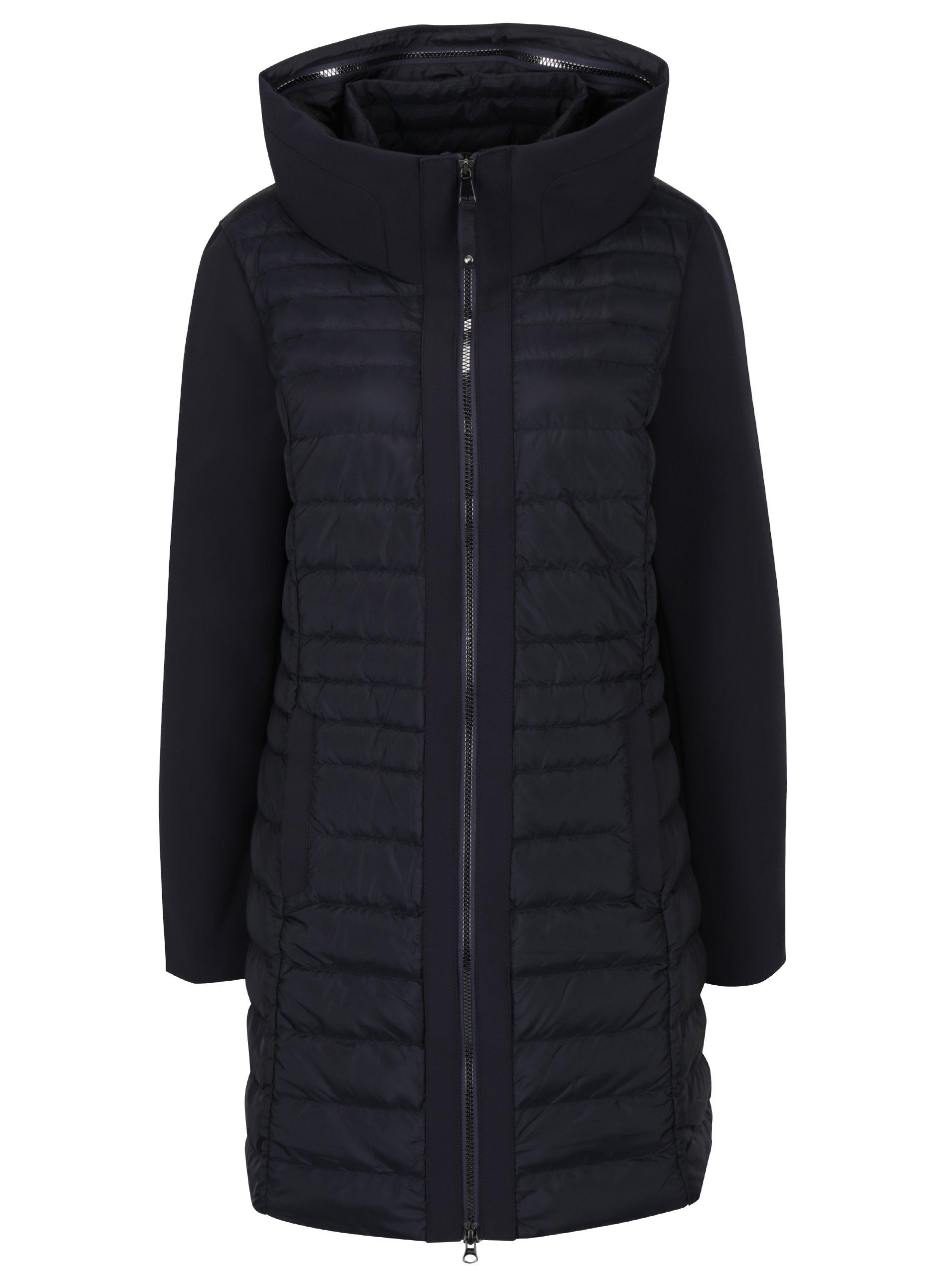 Tmavě modrý dámský prošívaný péřový kabát s kapucí s.Oliver
