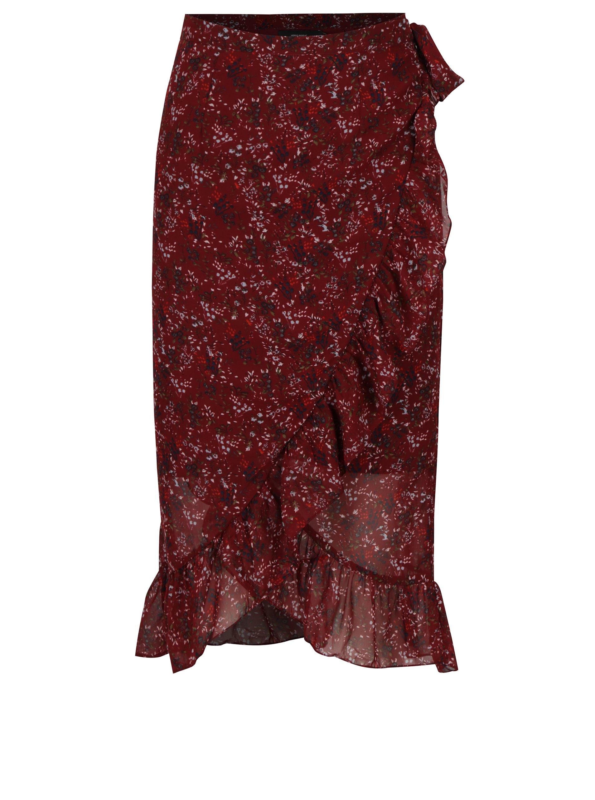 Vínová květovaná zavinovací sukně s volány VERO MODA Camille