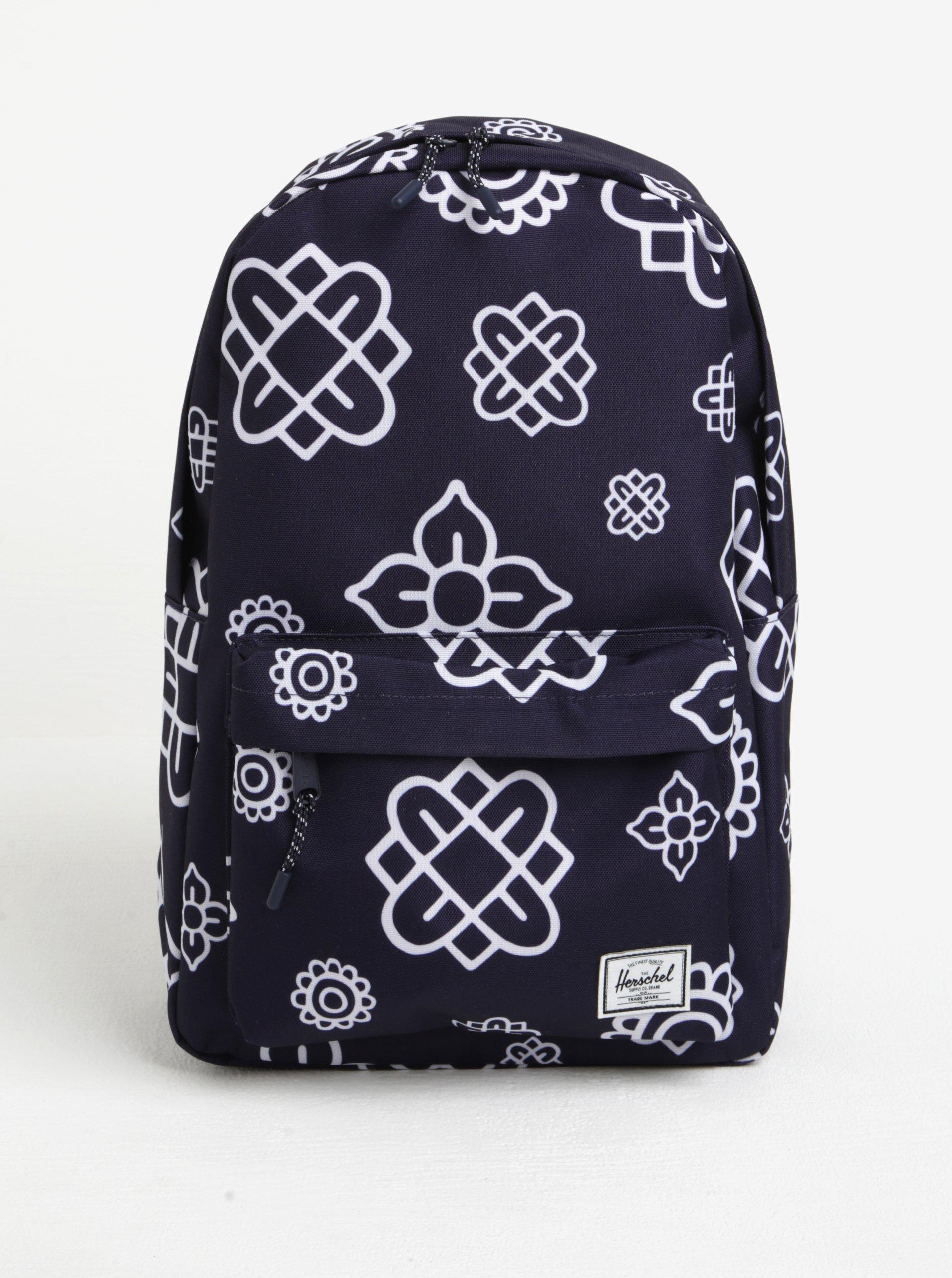 Tmavě modrý vzorovaný batoh Herschel Classic 18 l