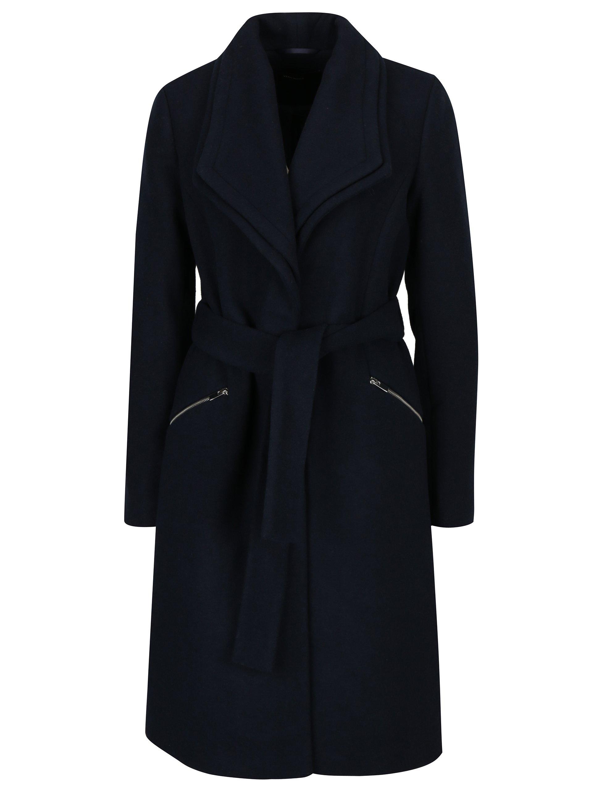 Tmavě modrý zimní kabát s příměsí vlny VERO MODA Pisa