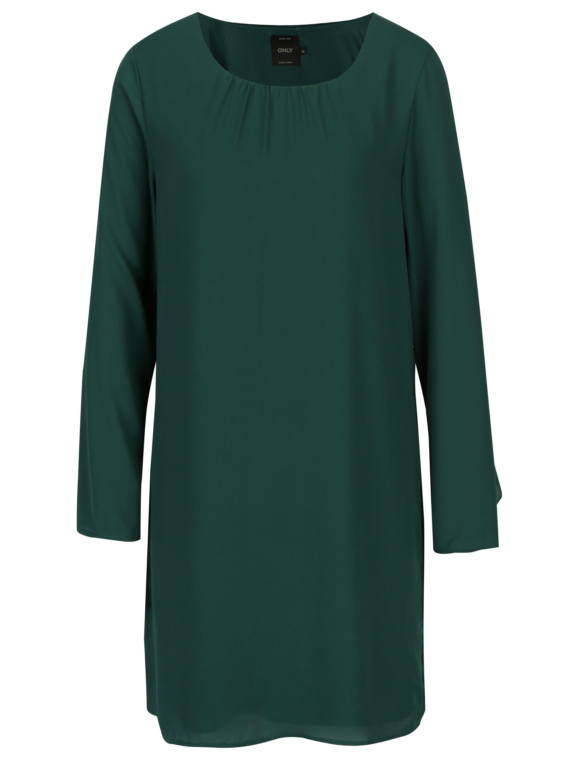 Zelené šaty s volány na rukávech ONLY Diana