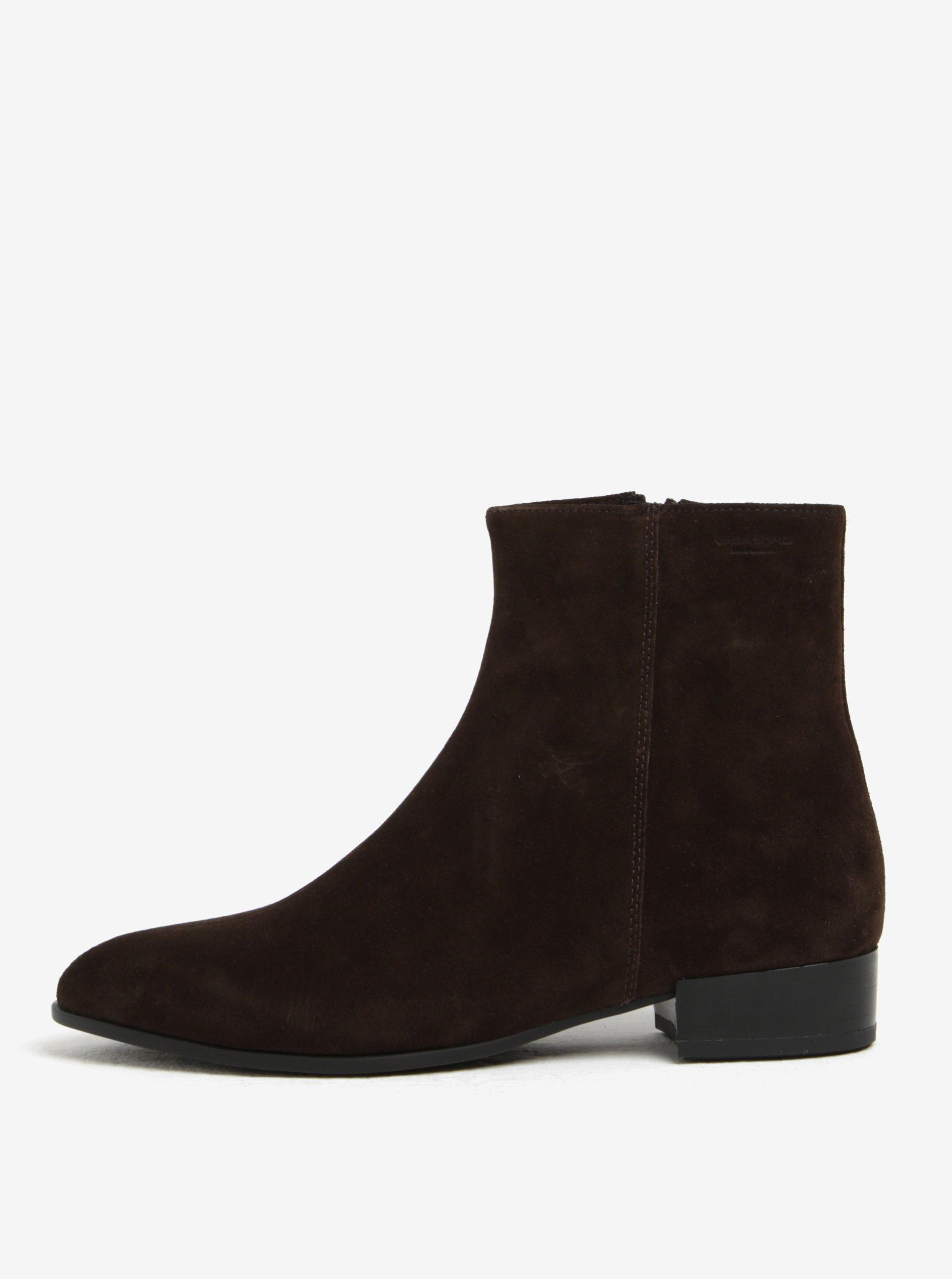 Tmavě hnědé dámské semišové kotníkové boty Vagabond Gigi
