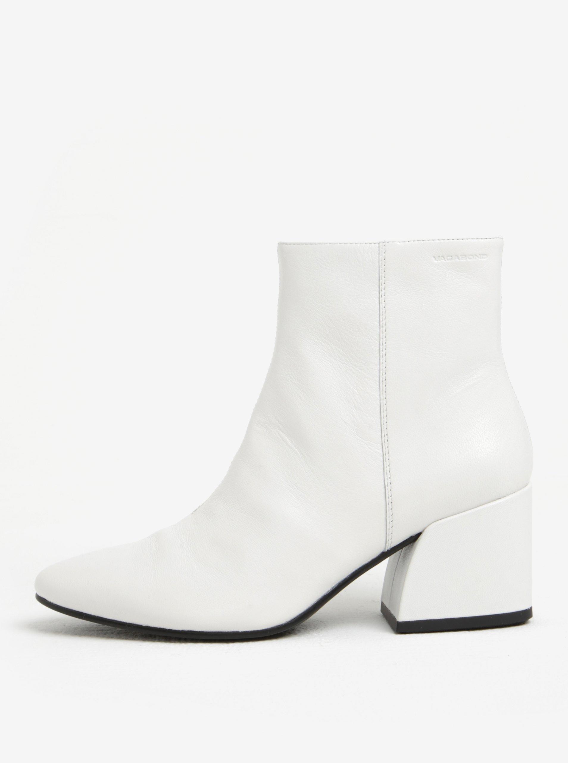 Bílé dámské kožené kotníkové boty na podpatku Vagabond Olivia