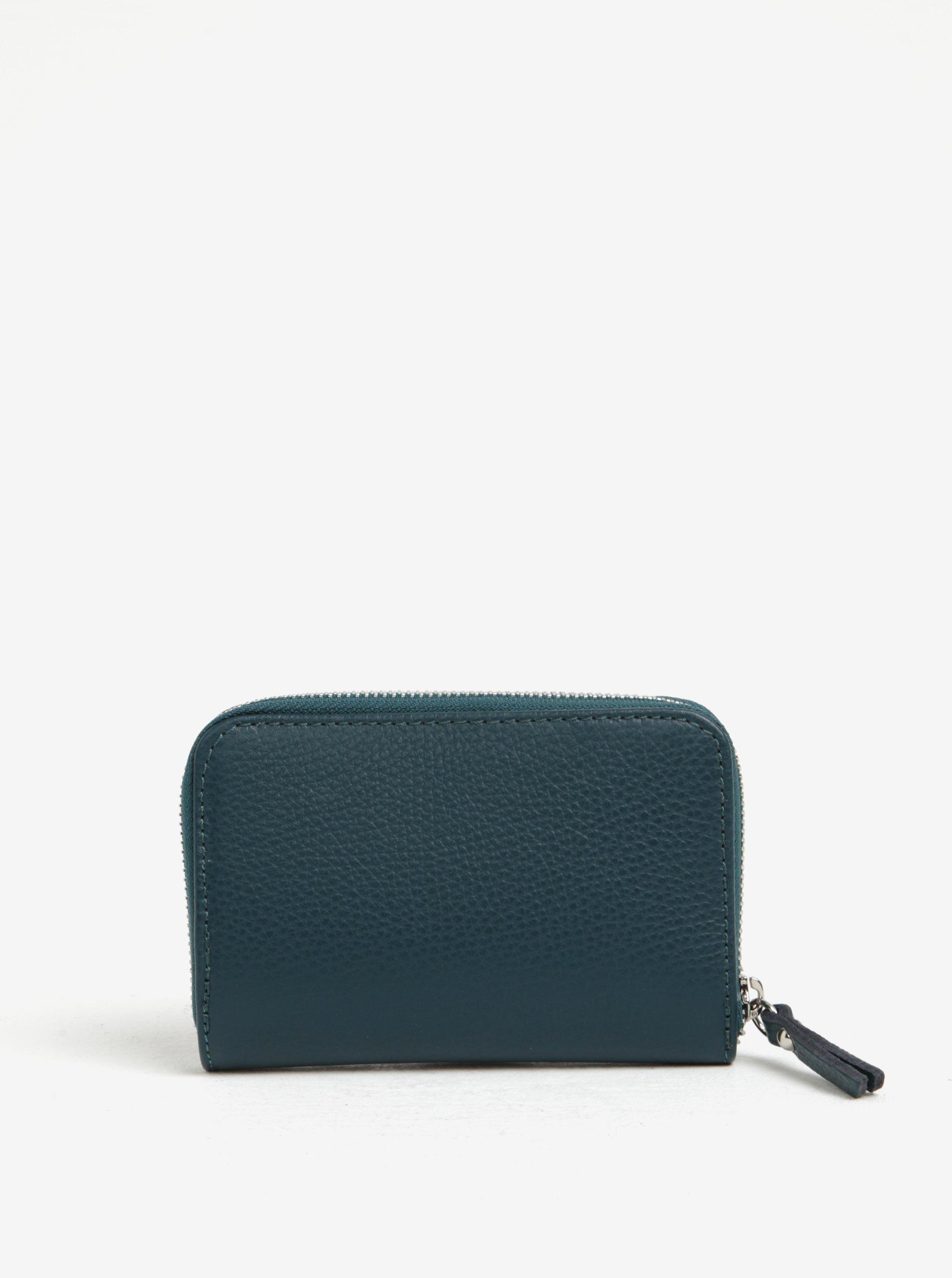 Tmavě zelená kožená malá peněženka na zip ZOOT
