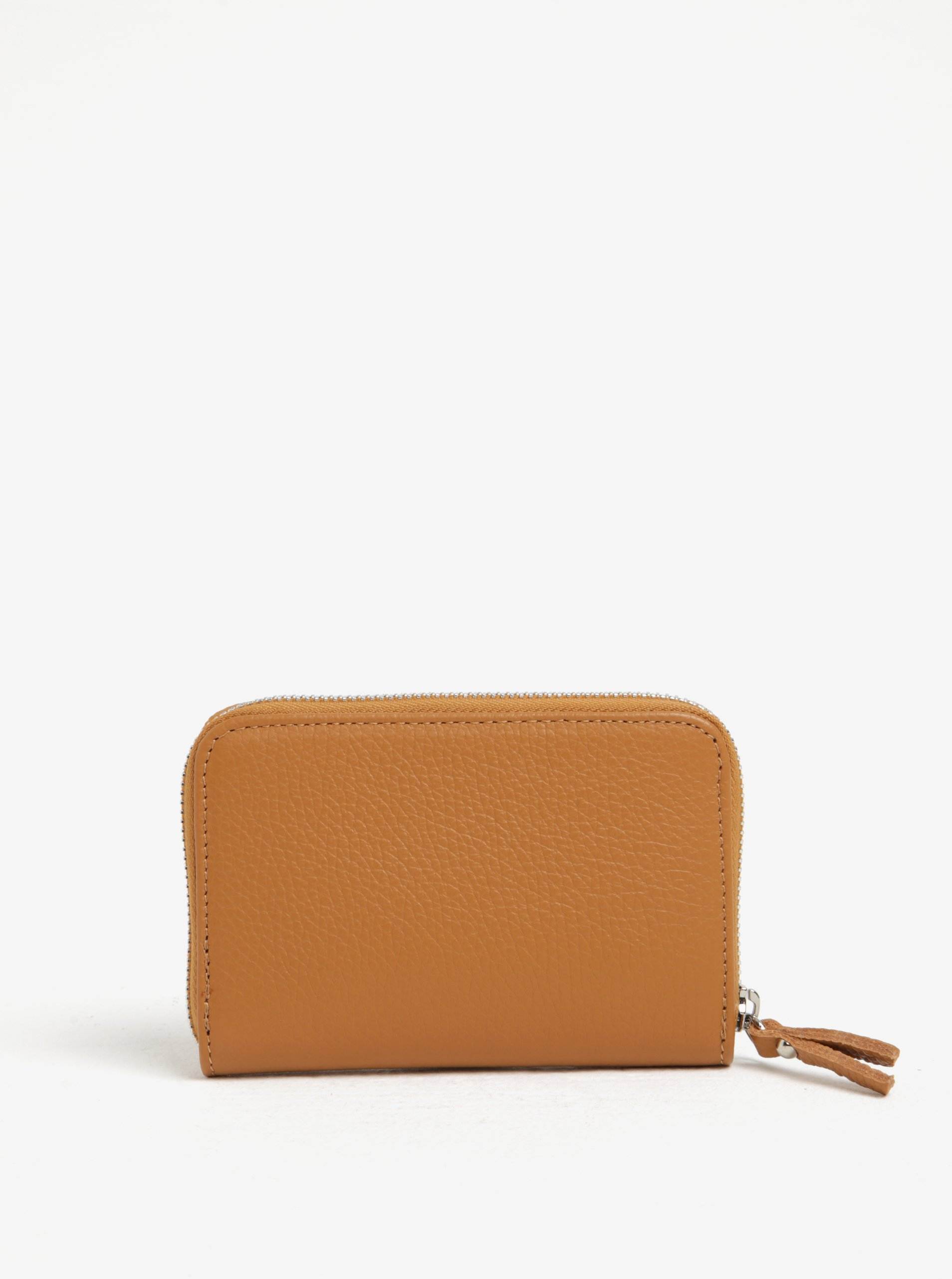 Hnedá kožená malá peňaženka na zips ZOOT