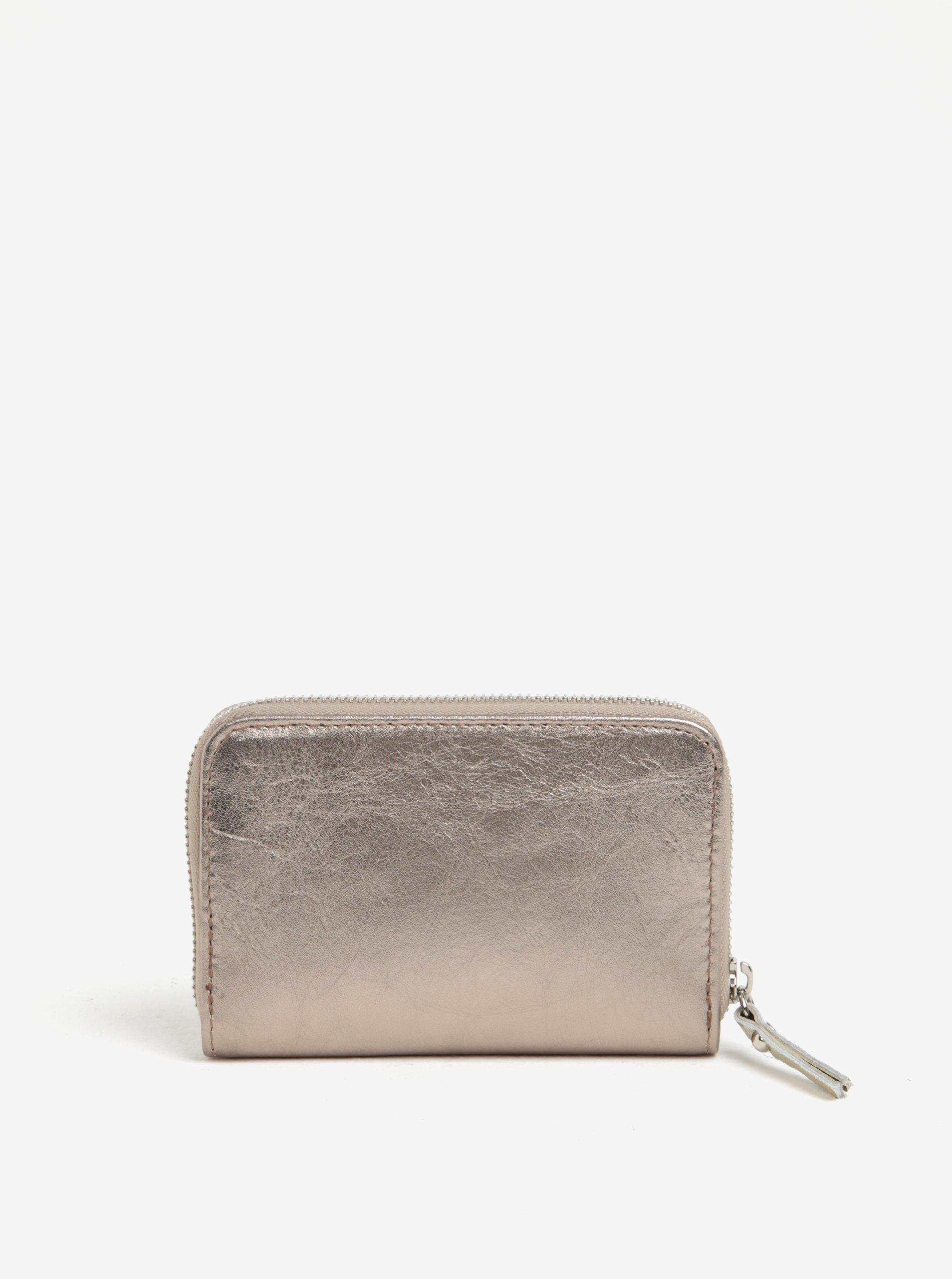 Kožená malá peněženka v bronzové barvě na zip ZOOT