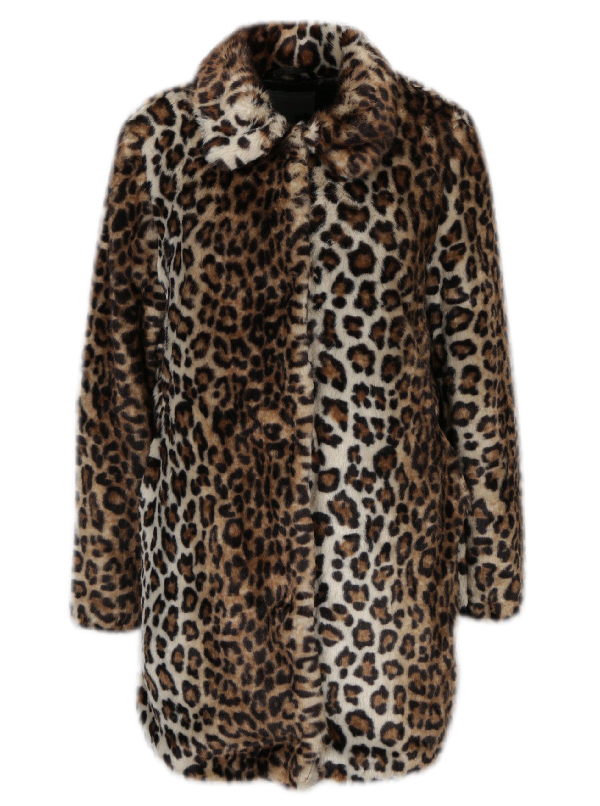 Hnědý kabát s leopardím vzorem z umělé kožešiny Dorothy Perkins Petite