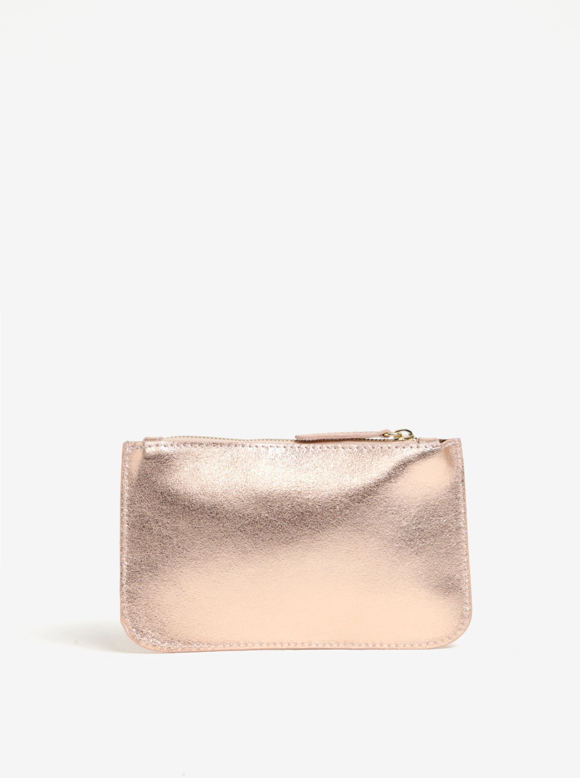 Růžovozlatá kožená kosmetická taštička ZOOT
