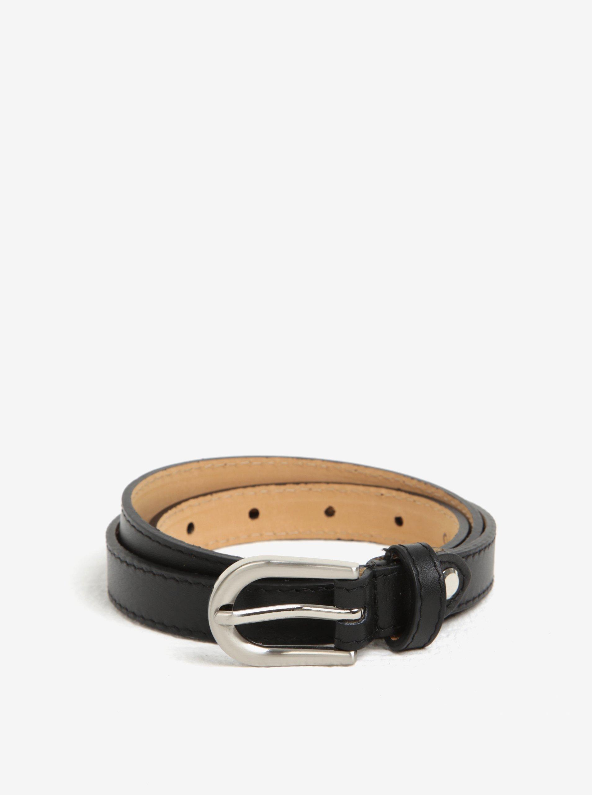 Černý kožený úzký pásek ZOOT