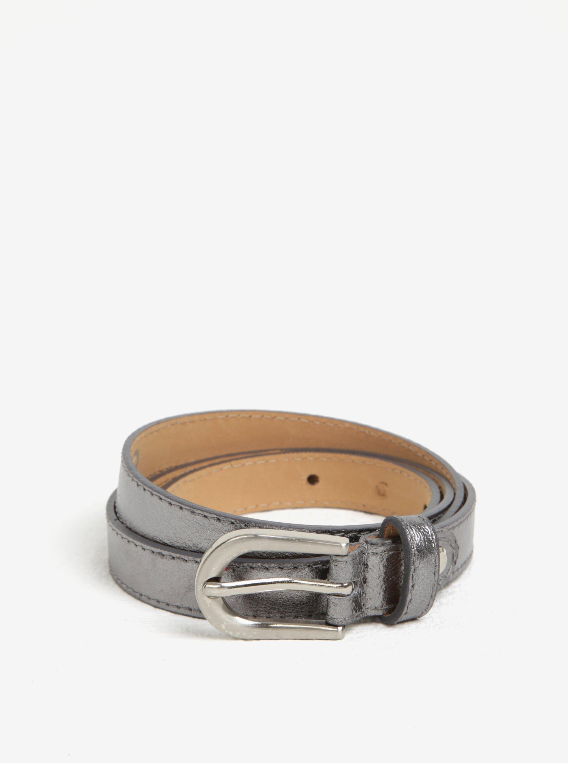 Kožený úzký pásek ve stříbrné barvě ZOOT