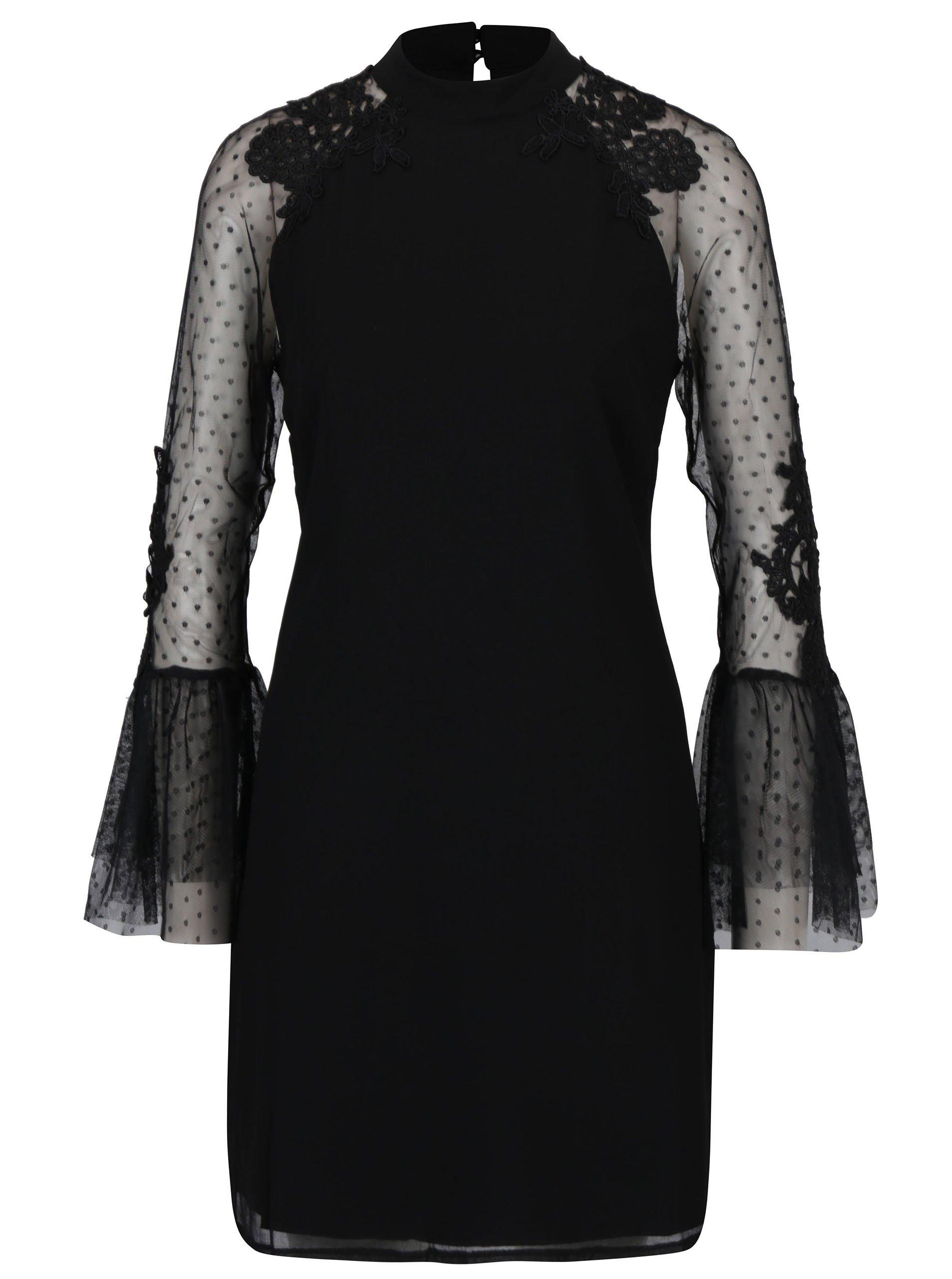 Čierne šaty s tylovými volánovými rukávmi Little Mistress 09a1d03fd8a