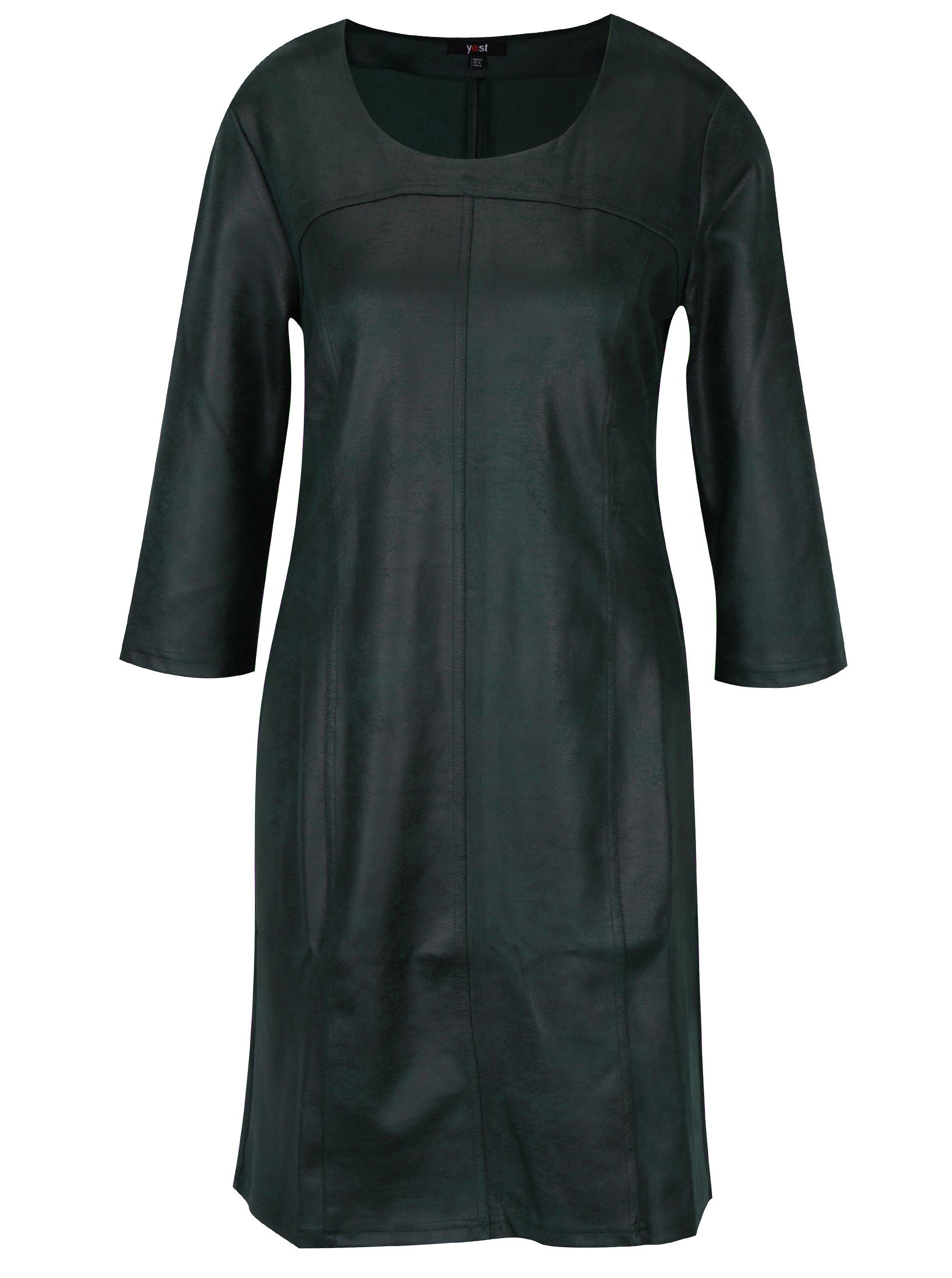 Tmavě zelené šaty se vzhledem broušené kůže Yest