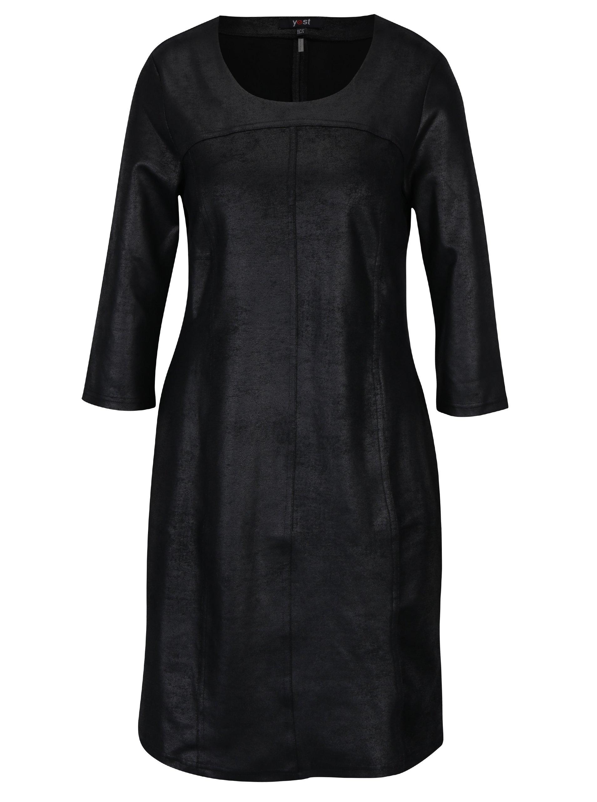 Černé koženkové šaty s 3/4 rukávem Yest
