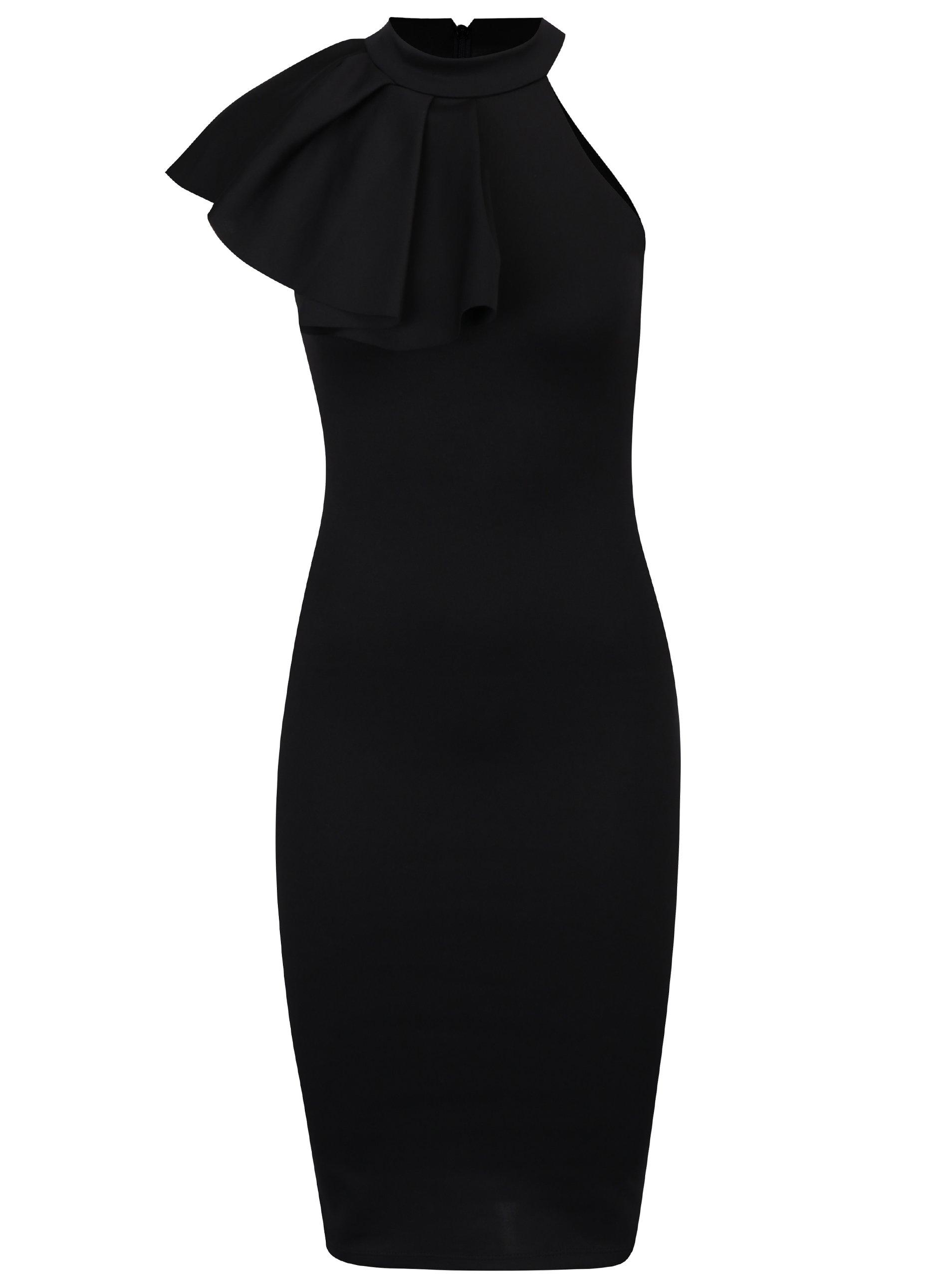 Černé pouzdrové šaty s volánem ZOOT
