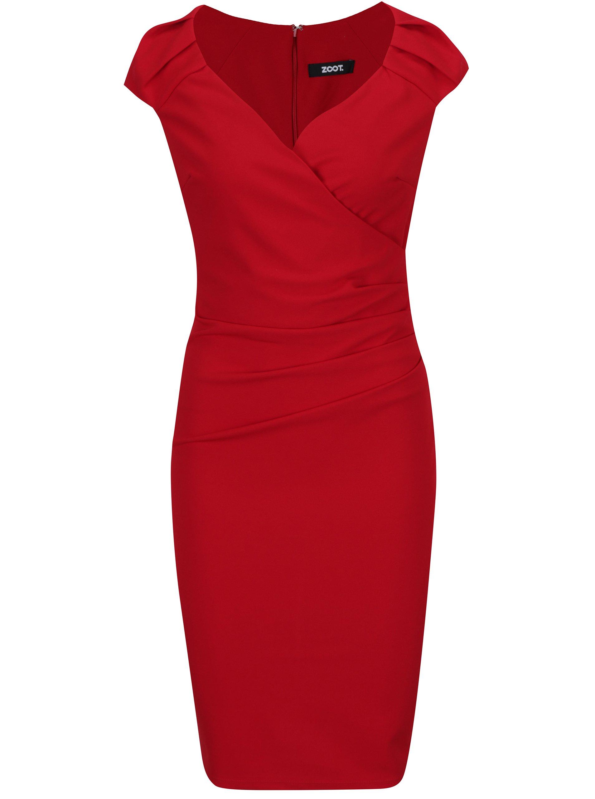 Červené puzdrové šaty s prekladaným výstrihom ZOOT