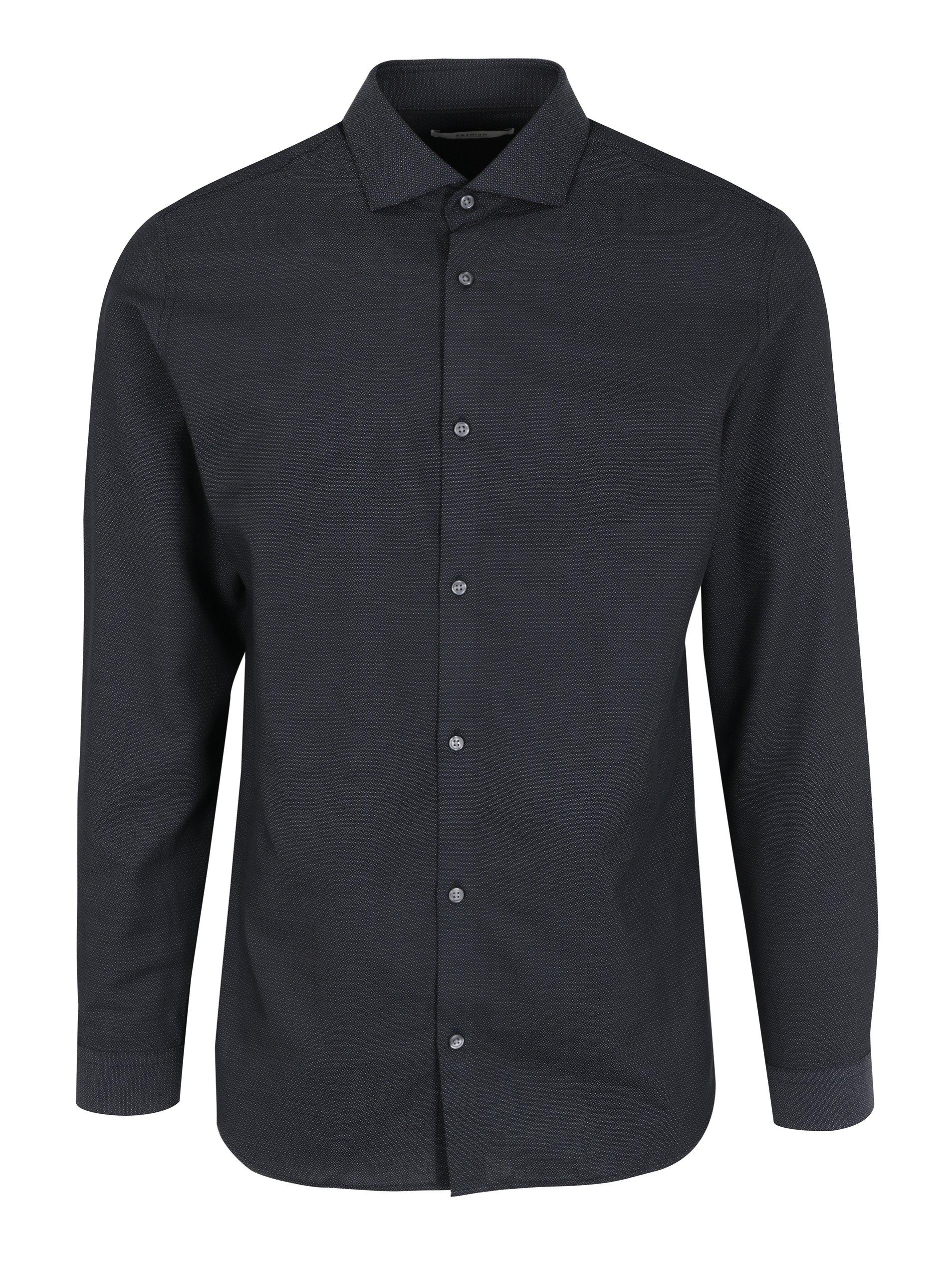 Tmavě modrá slim fit košile Jack & Jones Premium Salvador