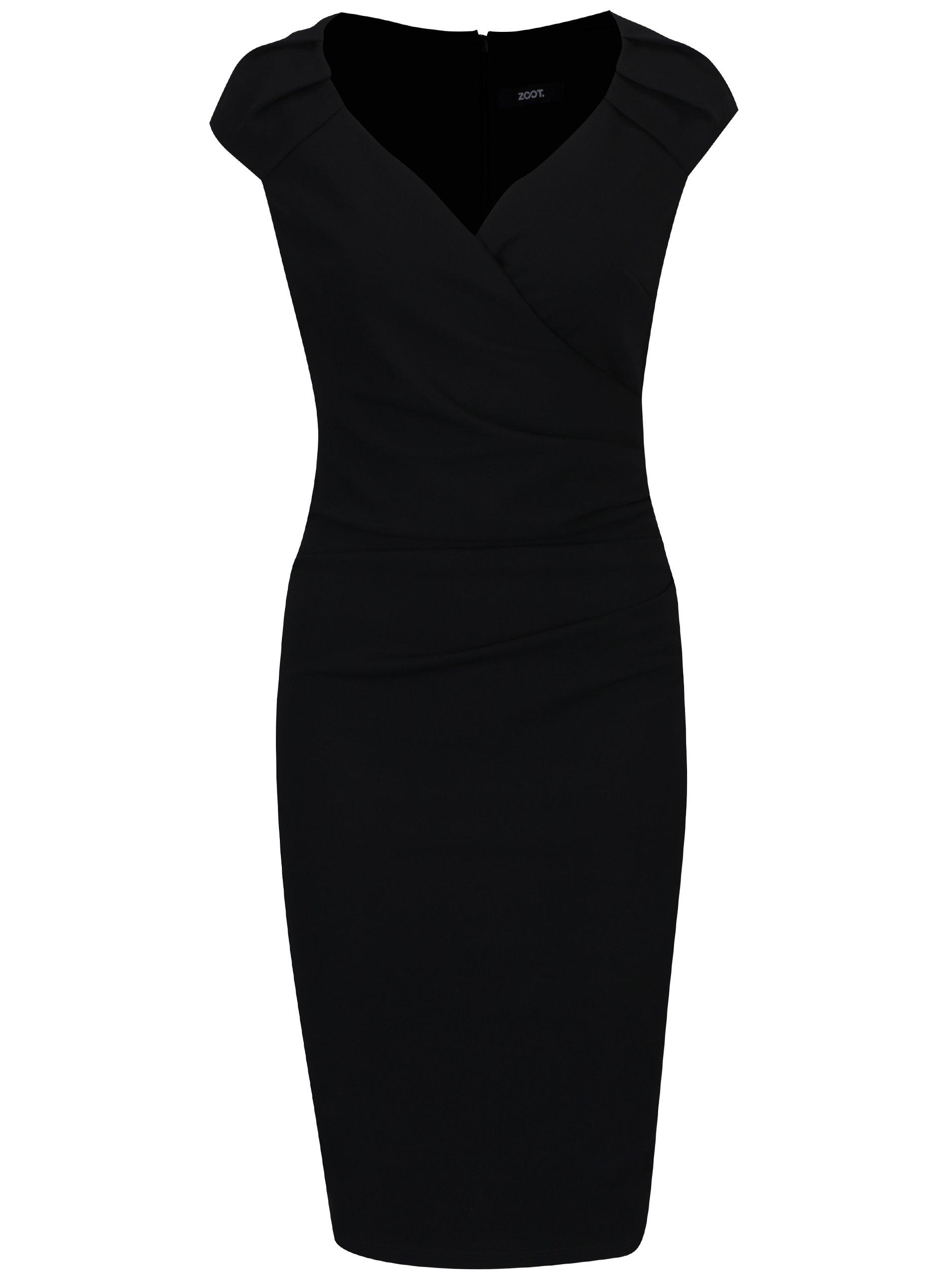 ef65d36549bd Čierne puzdrové šaty s prekladaným výstrihom ZOOT