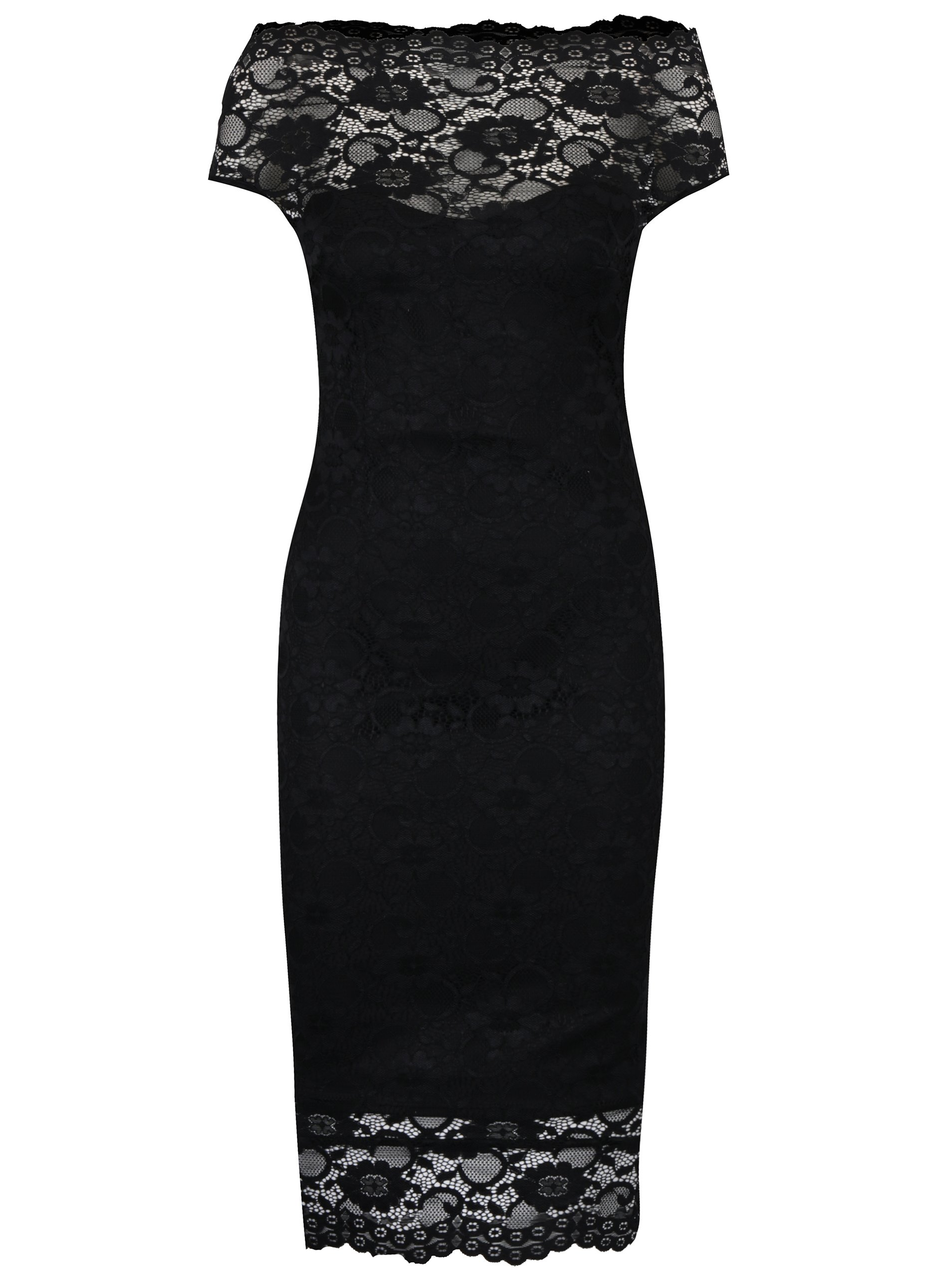Černé pouzdrové krajkové šaty ZOOT