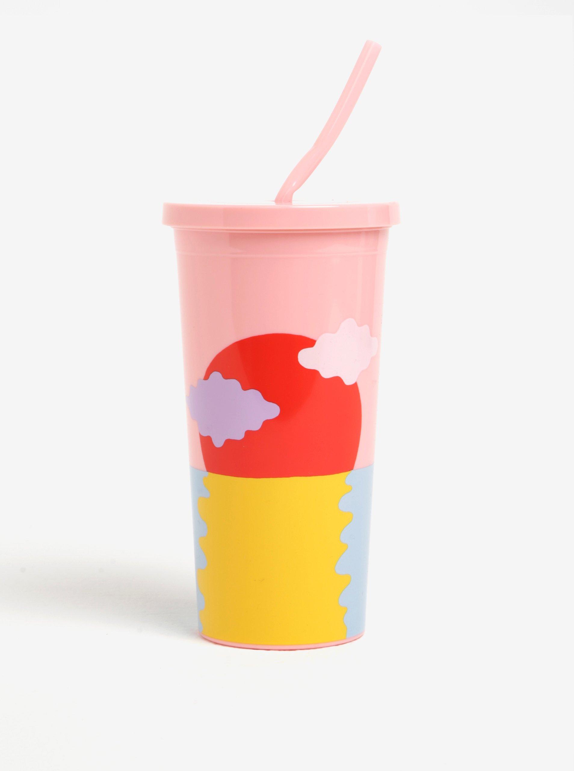 Modro-růžový cestovní hrnek s brčkem ban.dō Happy hour 590 ml