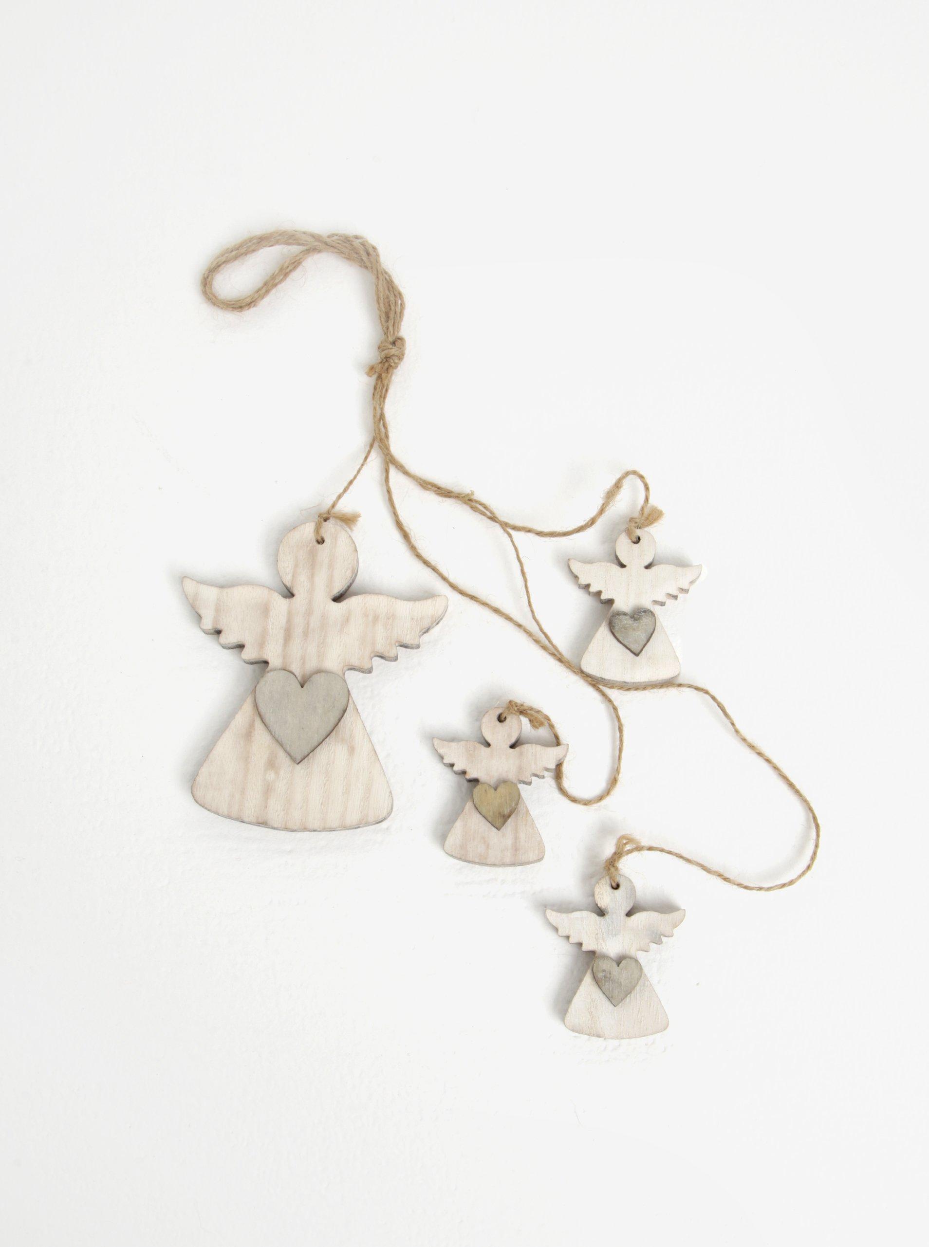 Súprava štyroch kusov drevenej závesnej dekorácie v tvare anjelov v bielej farbe Dakls