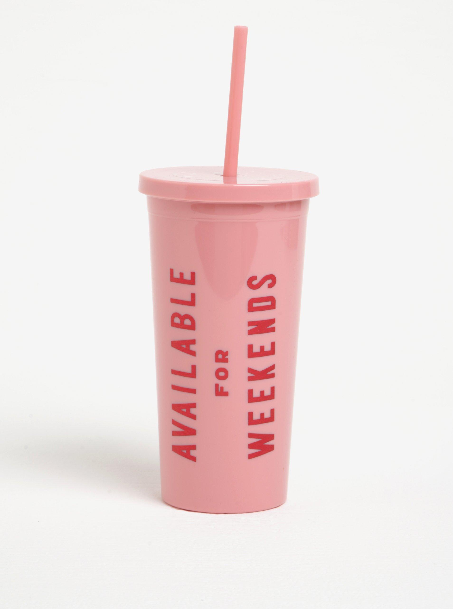 Růžový cestovní hrnek s brčkem ban.dō Available for weekends
