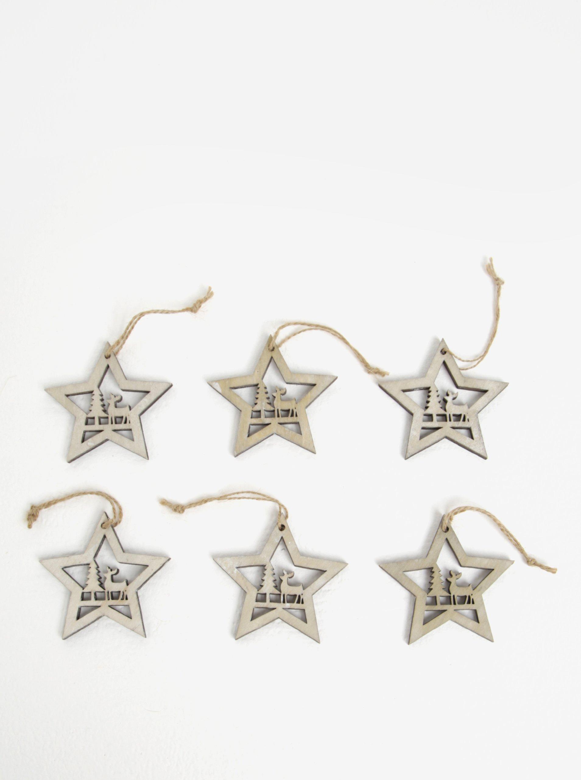 Sada šesti kusů dřevěné závěsné dekorace ve tvaru hvězd v šedé barvě Dakls