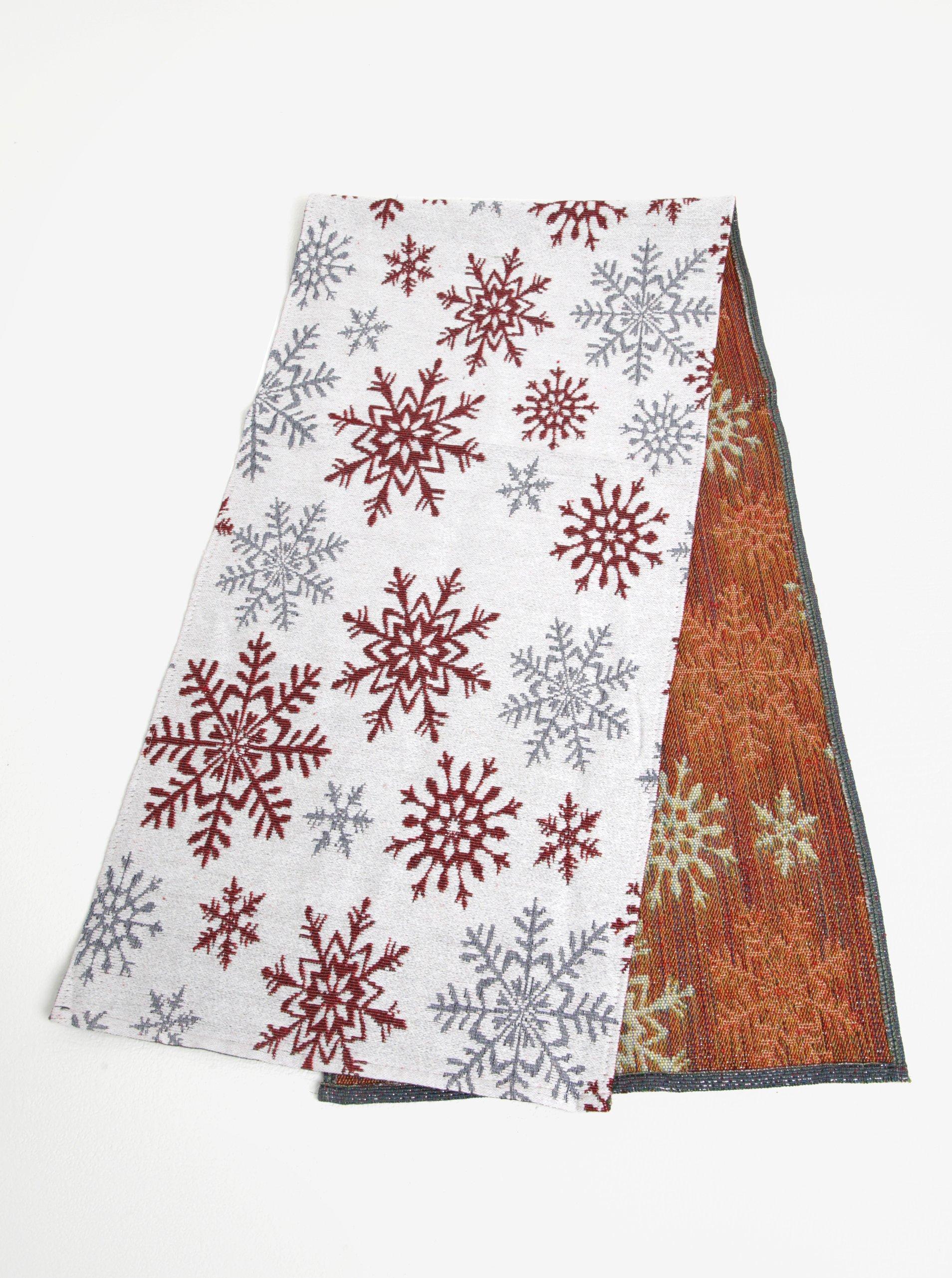 Bielo-červený behúň s motívom snehových vločiek Dakls