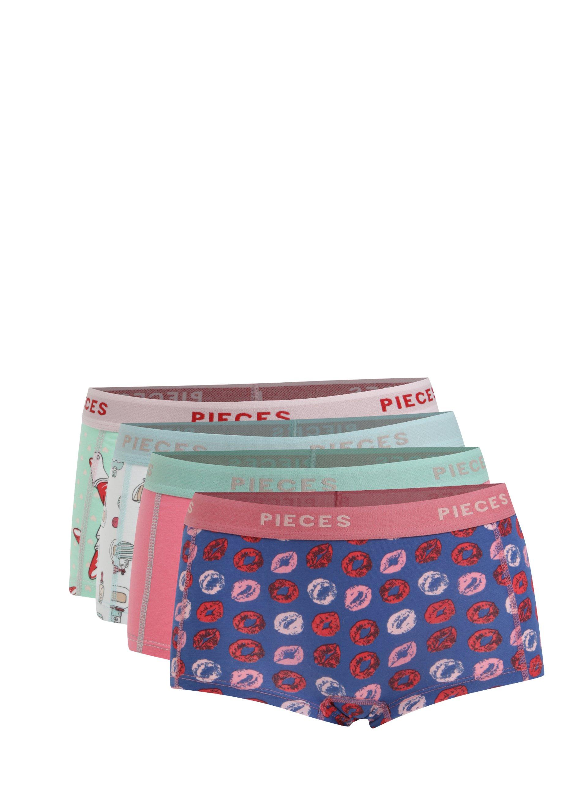 Sada čtyř vzorovaných kalhotek v modré, růžové, zelené a bílé barvě Pieces Logo