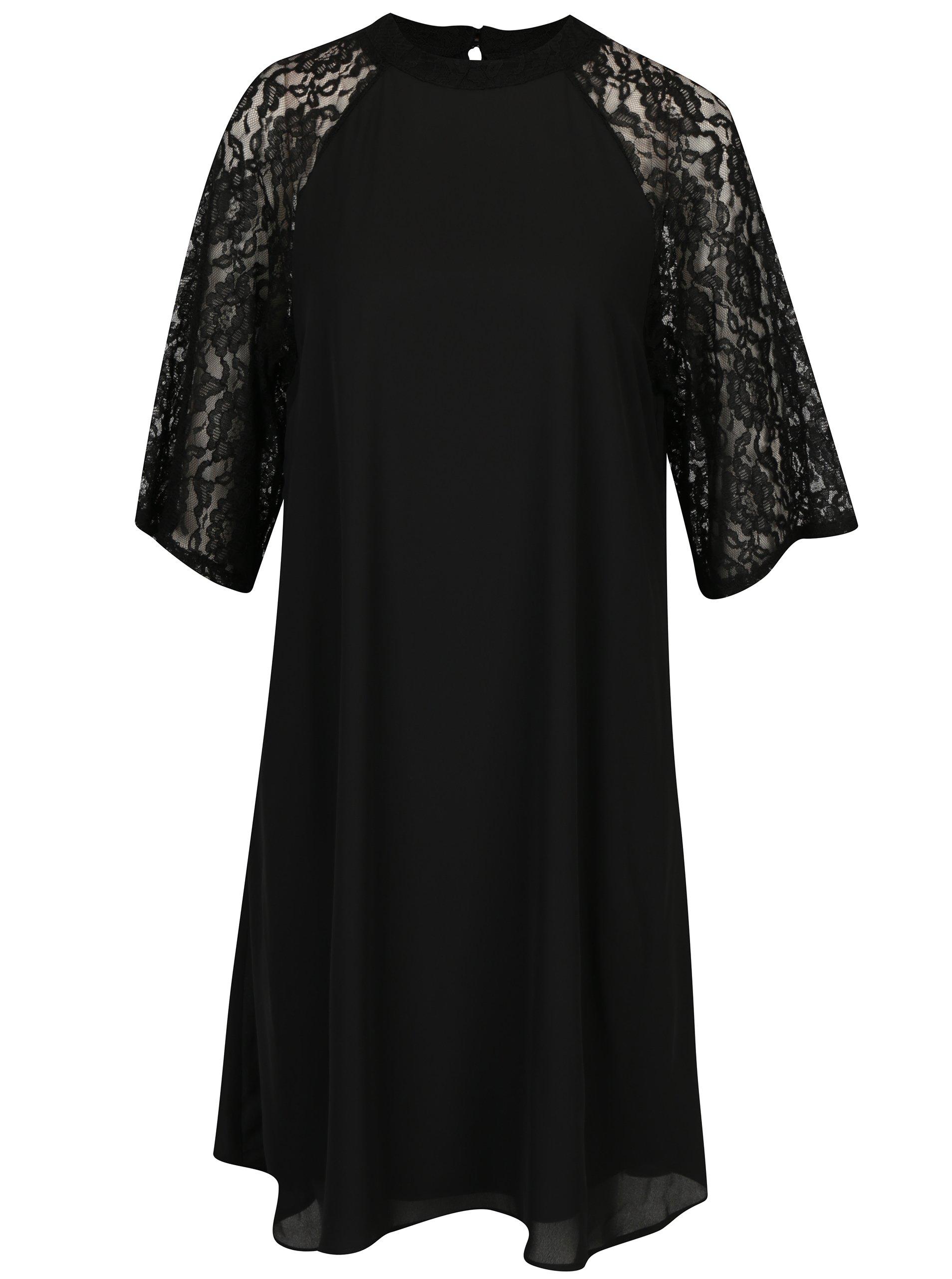 Černé dámské šaty s krajkovým rukávem Broadway Sarita