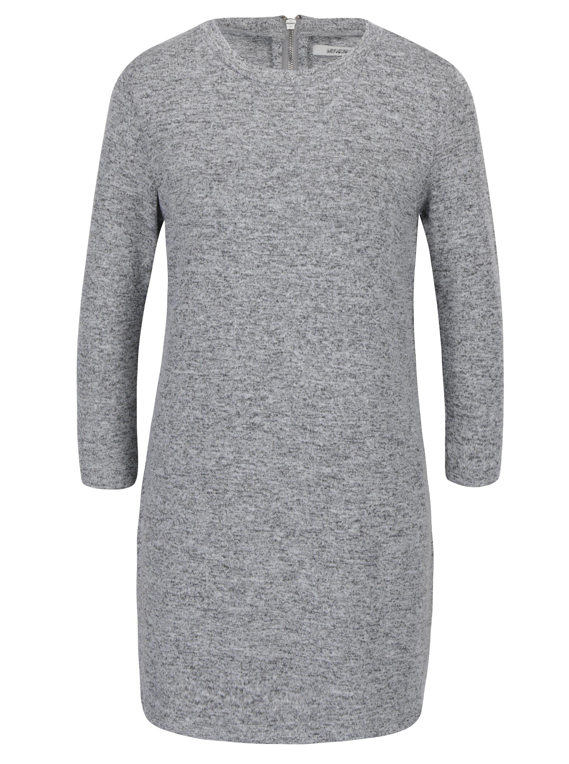Světle šedé svetrové minišaty s 3/4 rukávy Haily´s Dina