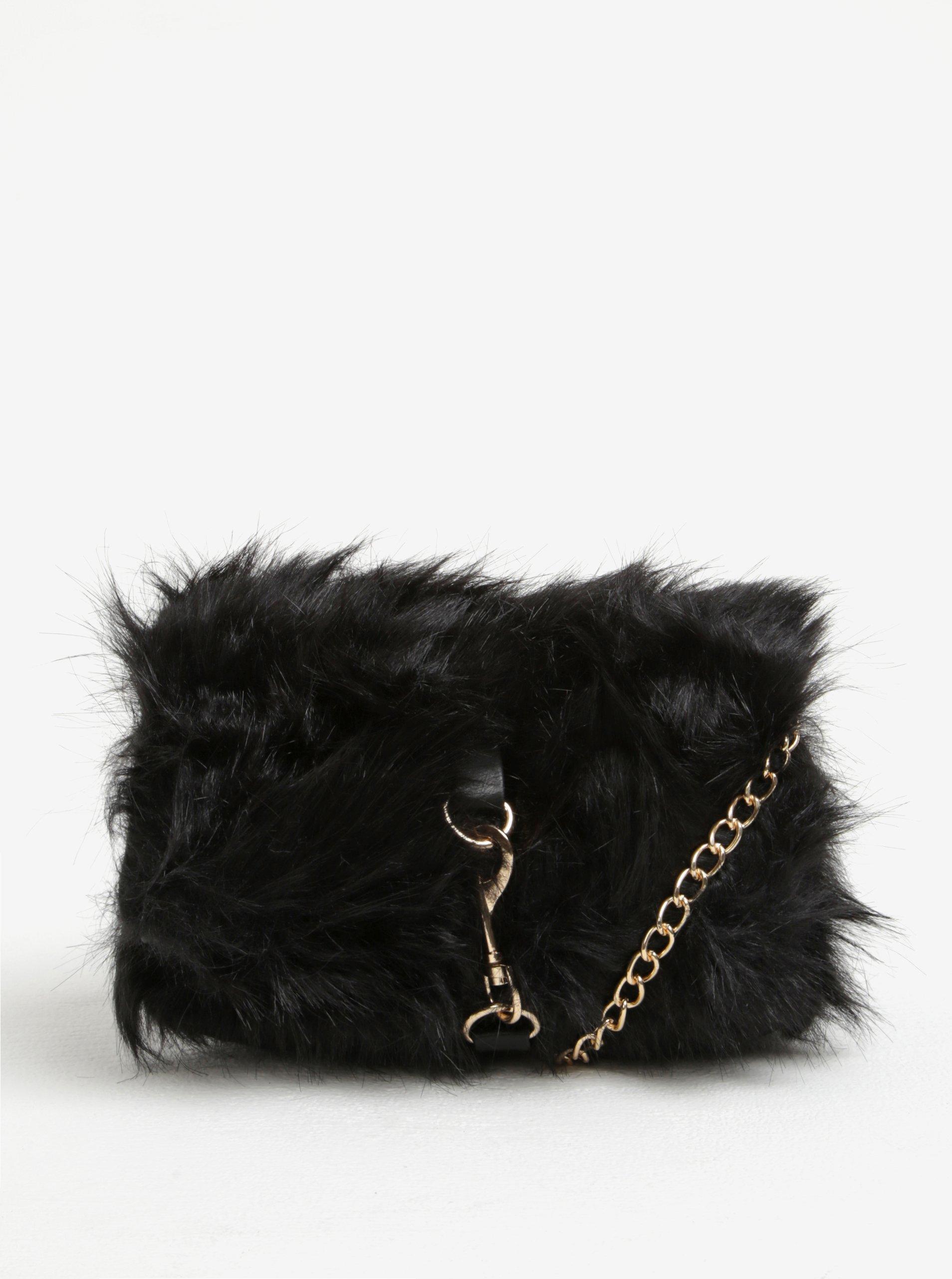 Černá crossbody kabelka s umělou kožešinou Pieces Oksana