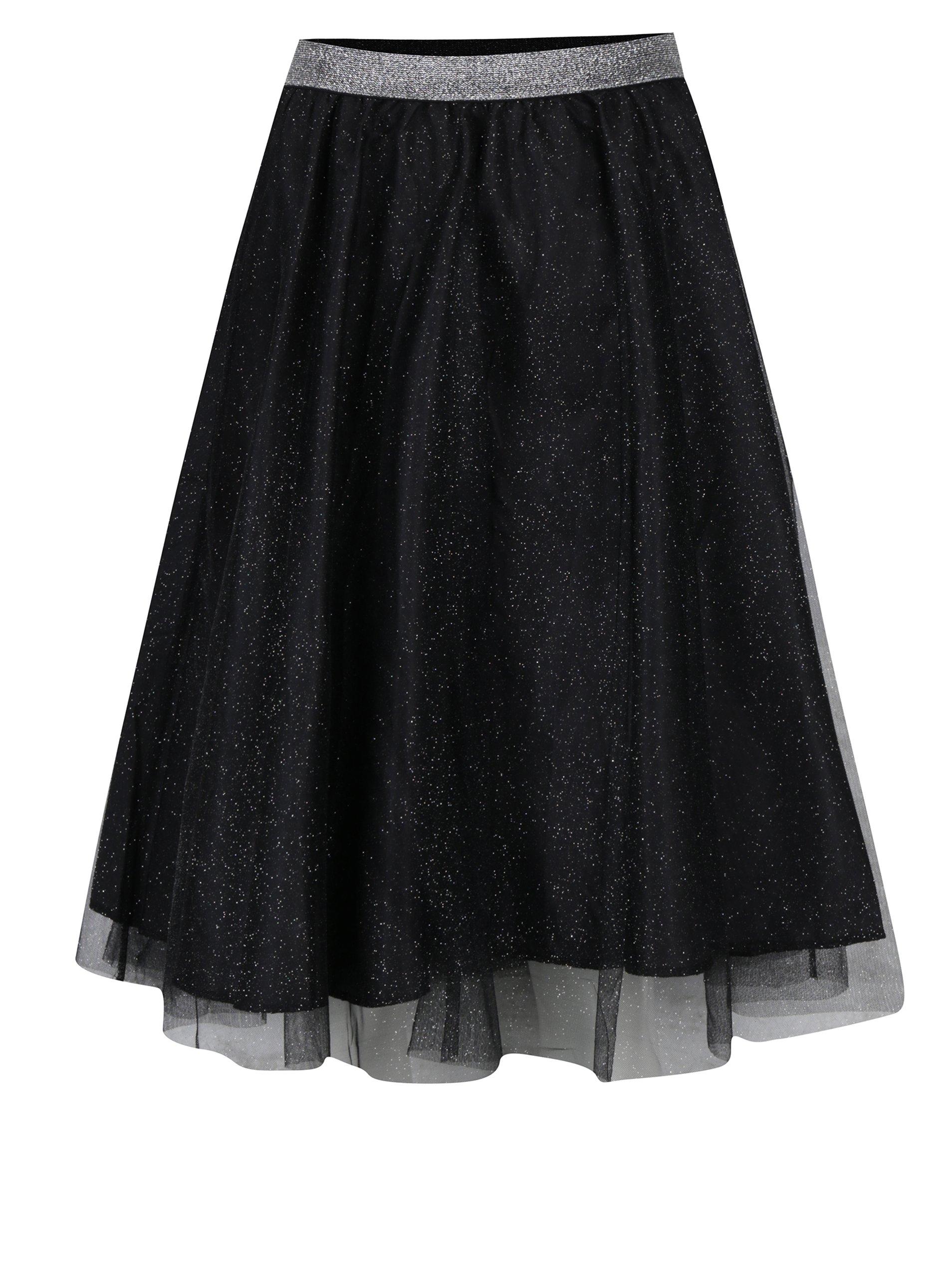 Čierna tylová sukňa s trblietkami Haily's Party