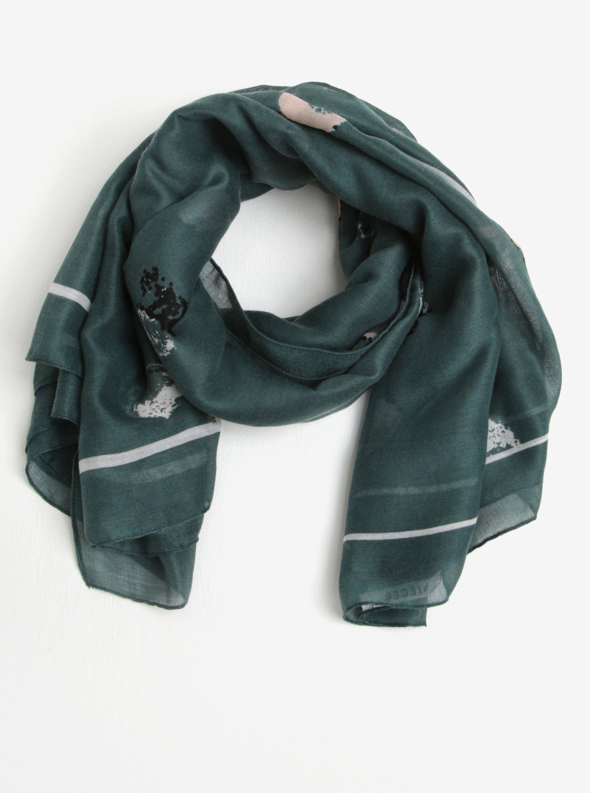 Tmavě zelený vzorovaný žíhaný šátek Pieces Amisty