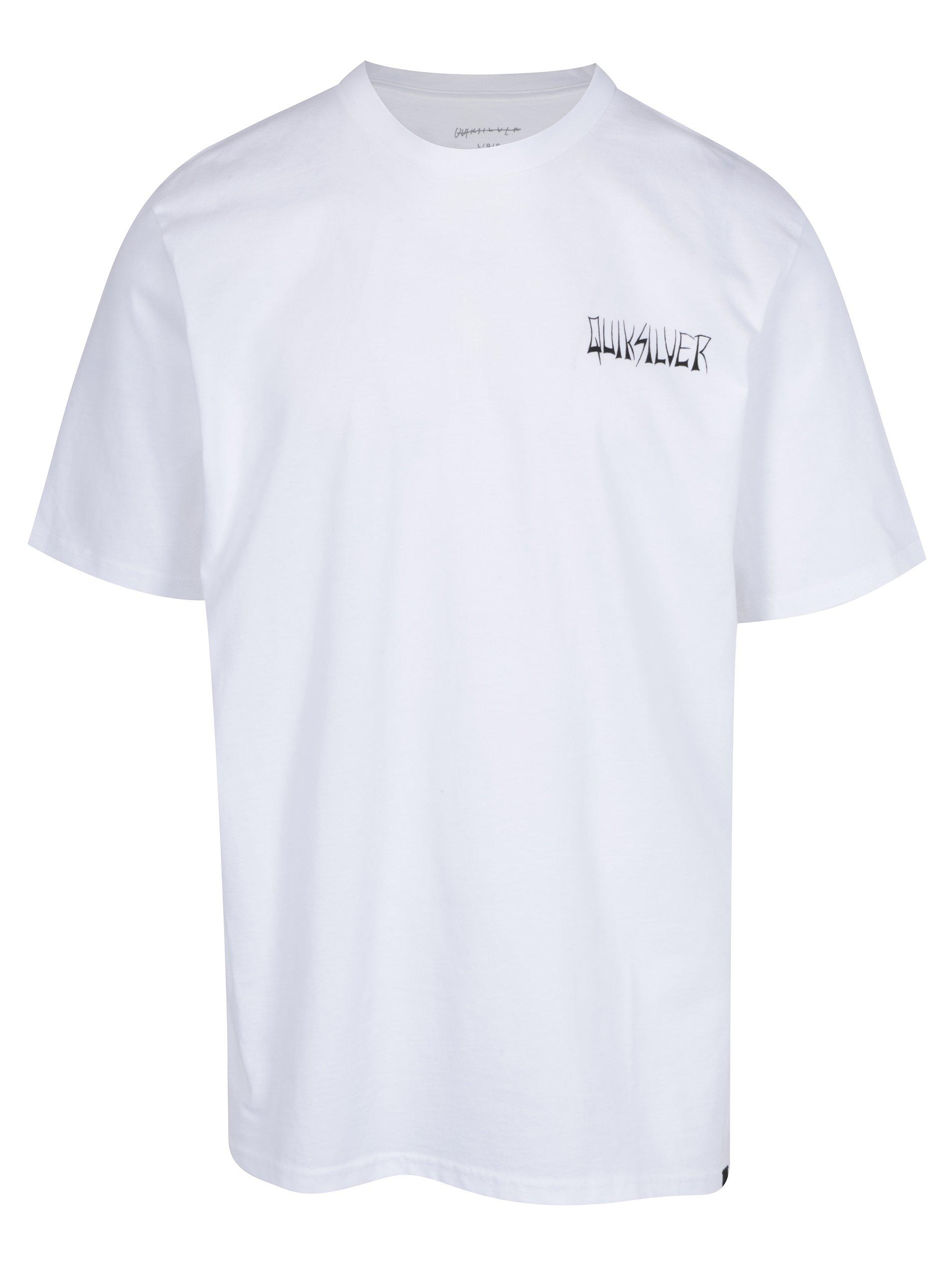 Bílé pánské skate fit tričko s potiskem na zádech Quiksilver Tees