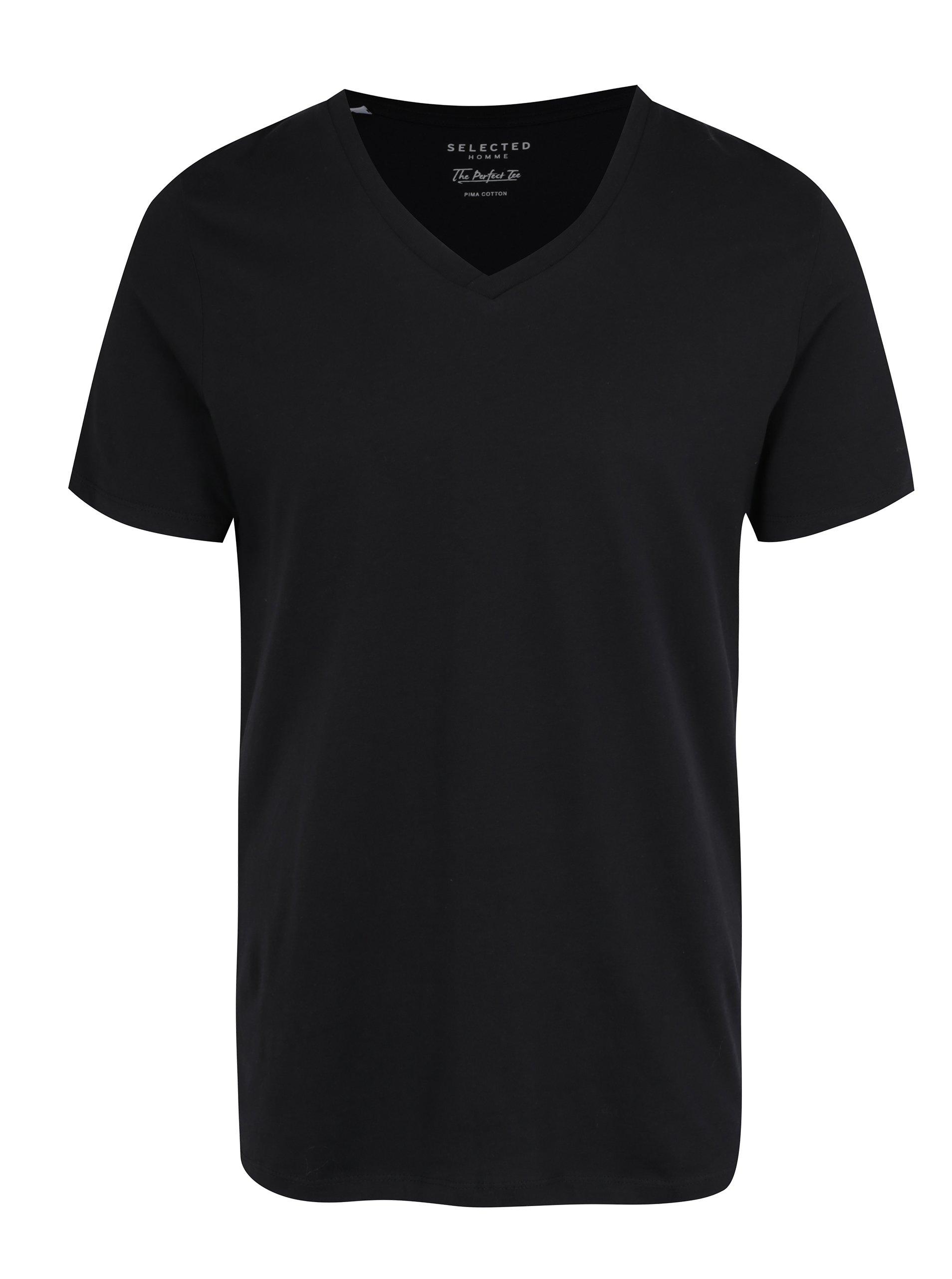 Černé tričko s véčkovým výstřihem Selected Homme