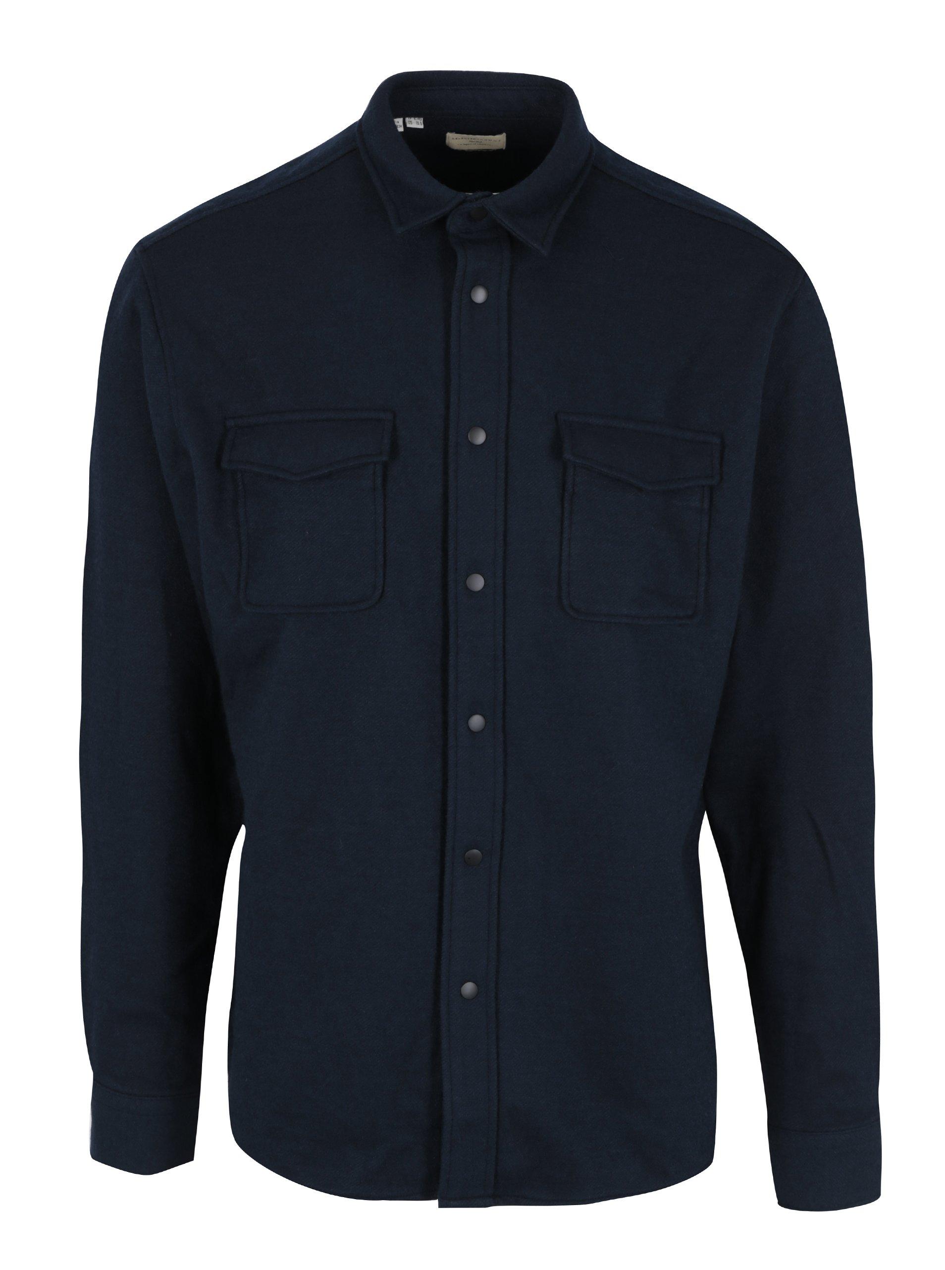 Tmavomodrá regular fit košeľa s prímesou vlny Selected Homme Three Pontus