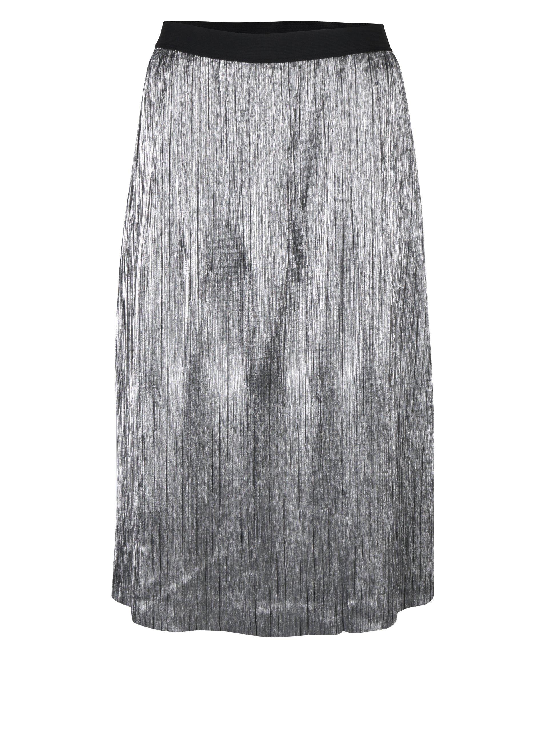 Plisovaná sukně ve stříbrné barvě VILA Silvi