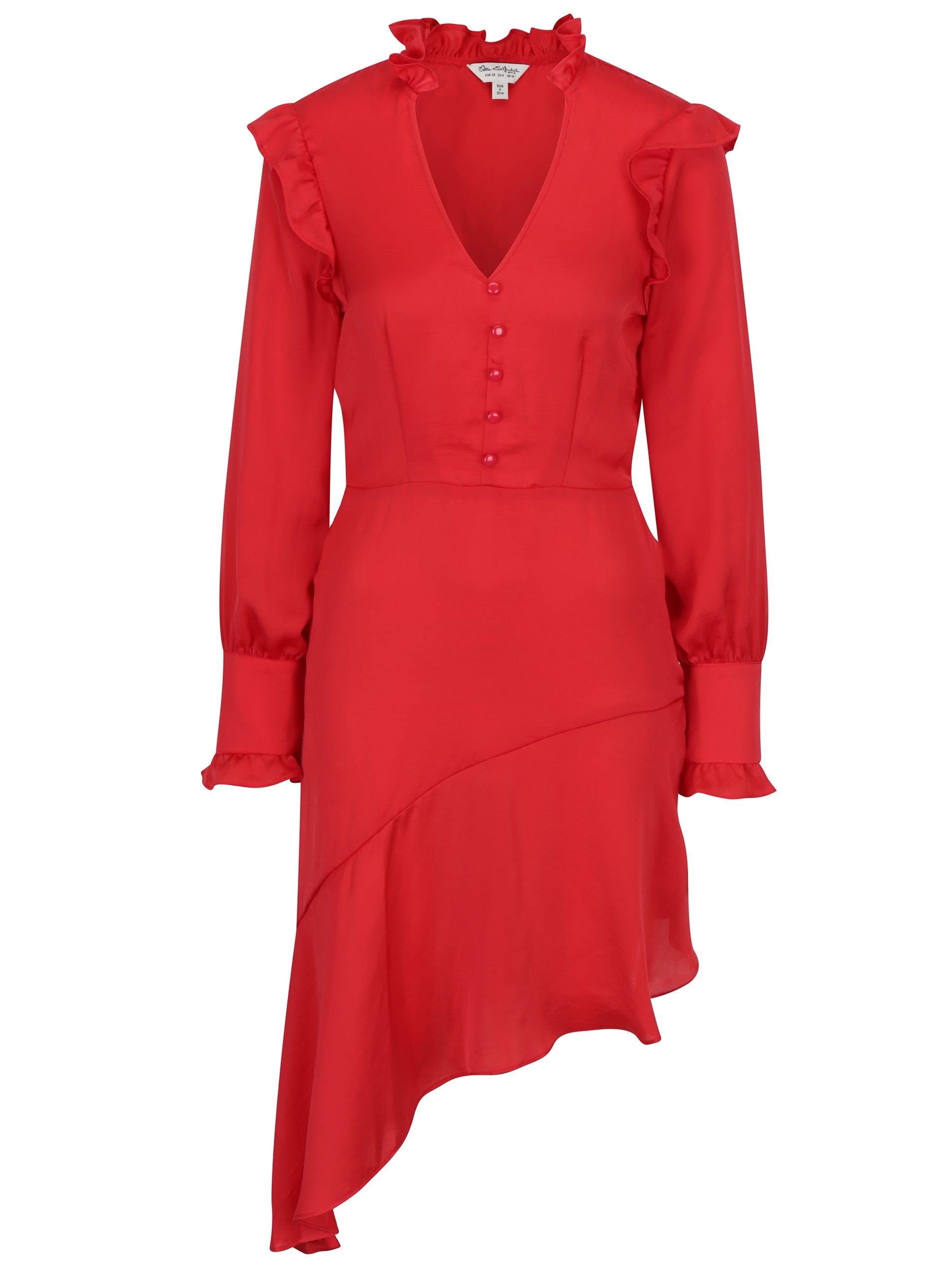červené asymetrické šaty s volány Miss Selfridge