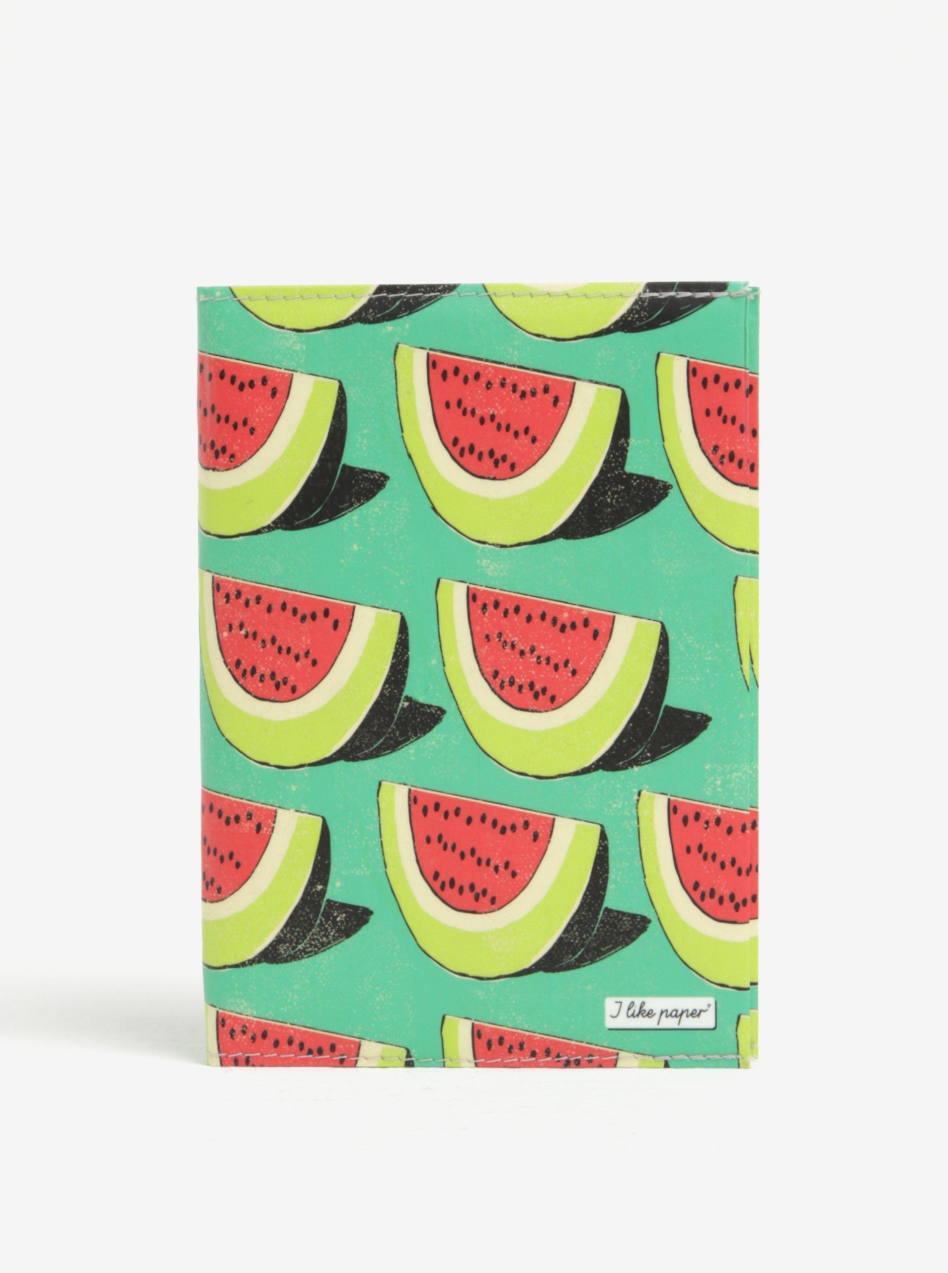 Zelený zápisník s motivem melounů I Like Paper A6