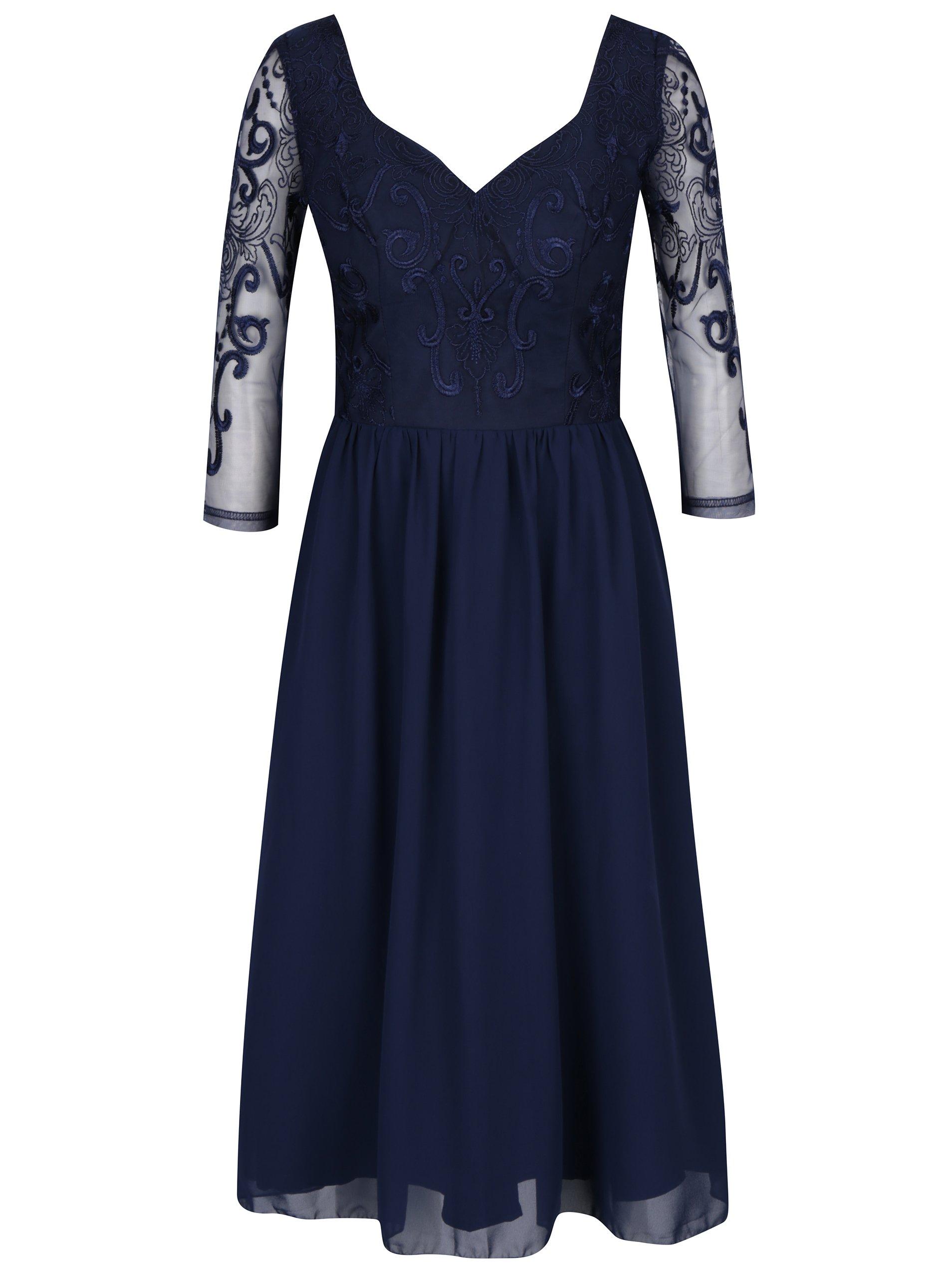 Tmavomodré šaty s tylovou sukňou Chi Chi London Nisha