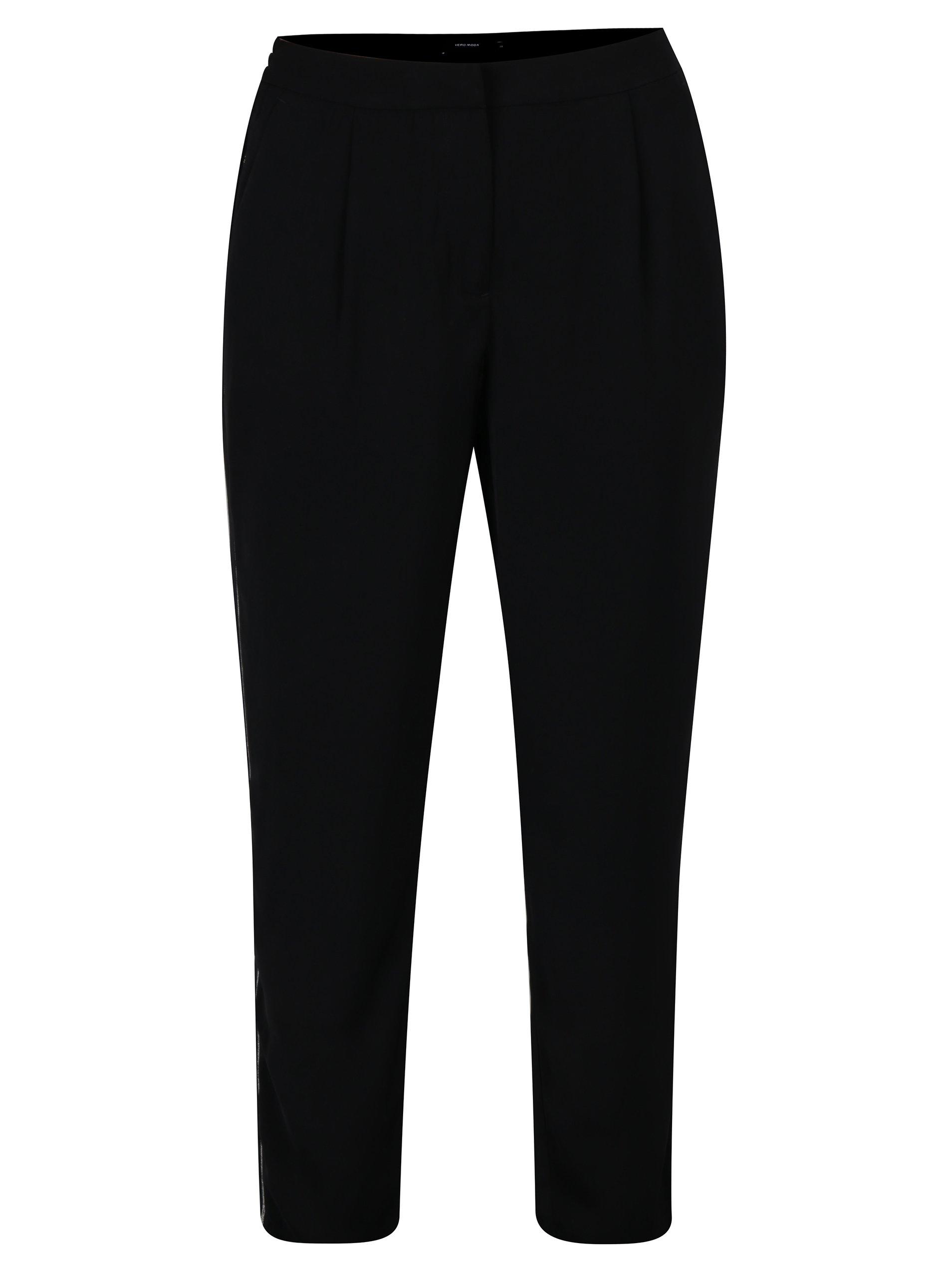 Fotografie Černé volné kalhoty s vysokým pasem a pruhem na bocích VERO MODA Adrianne