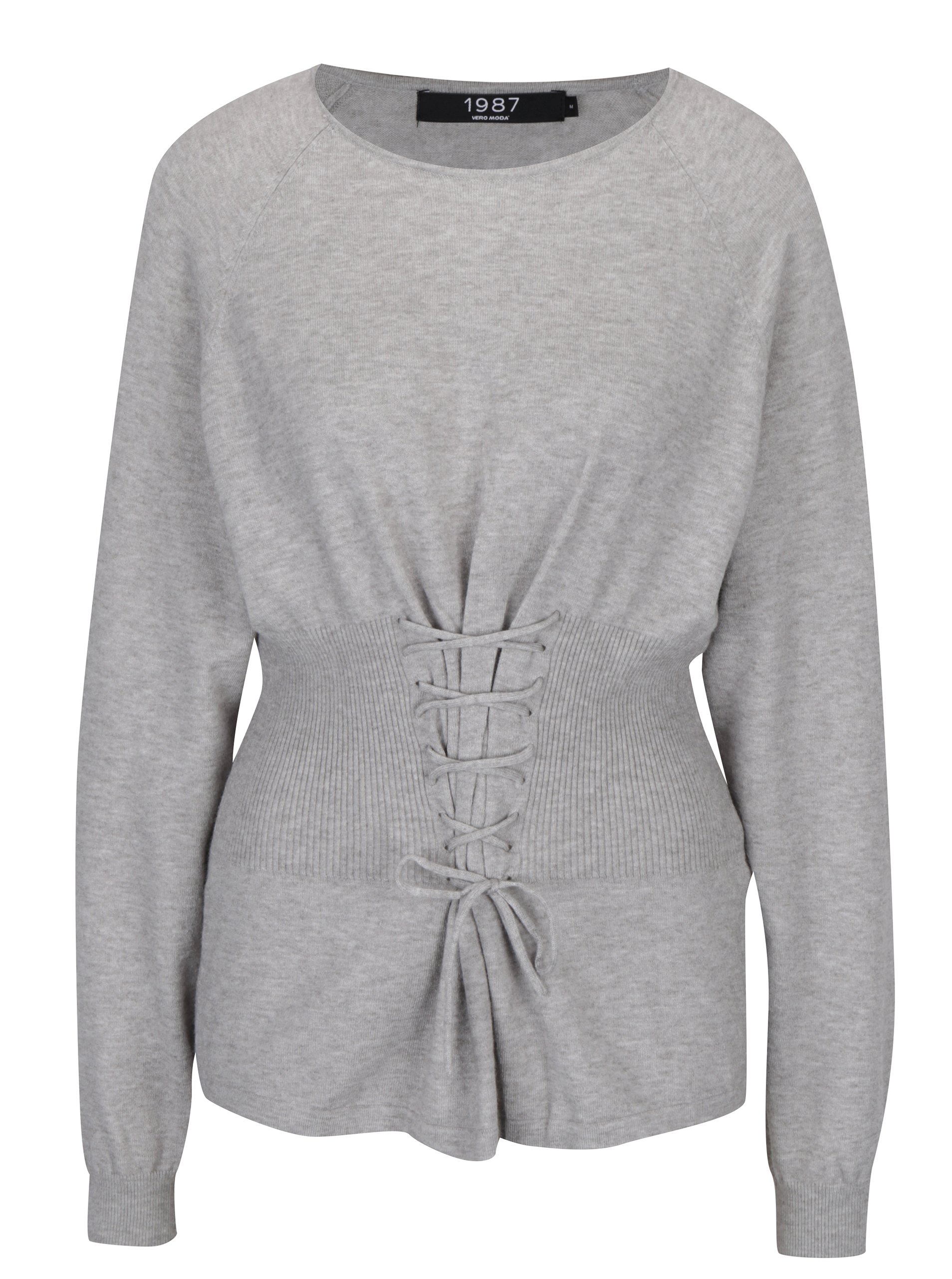 Svetlosivý melírovaný sveter so šnurovaním VERO MODA Oria