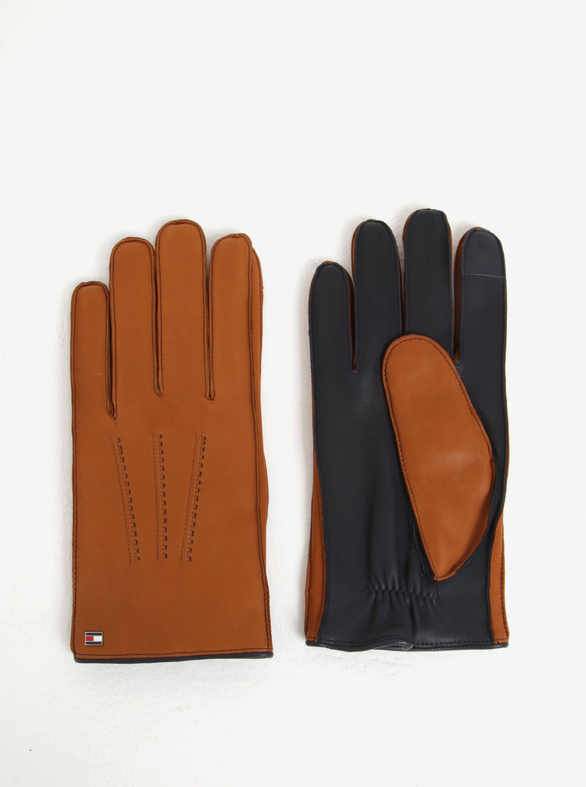 Hnědé pánské kožené rukavice Tommy Hilfiger
