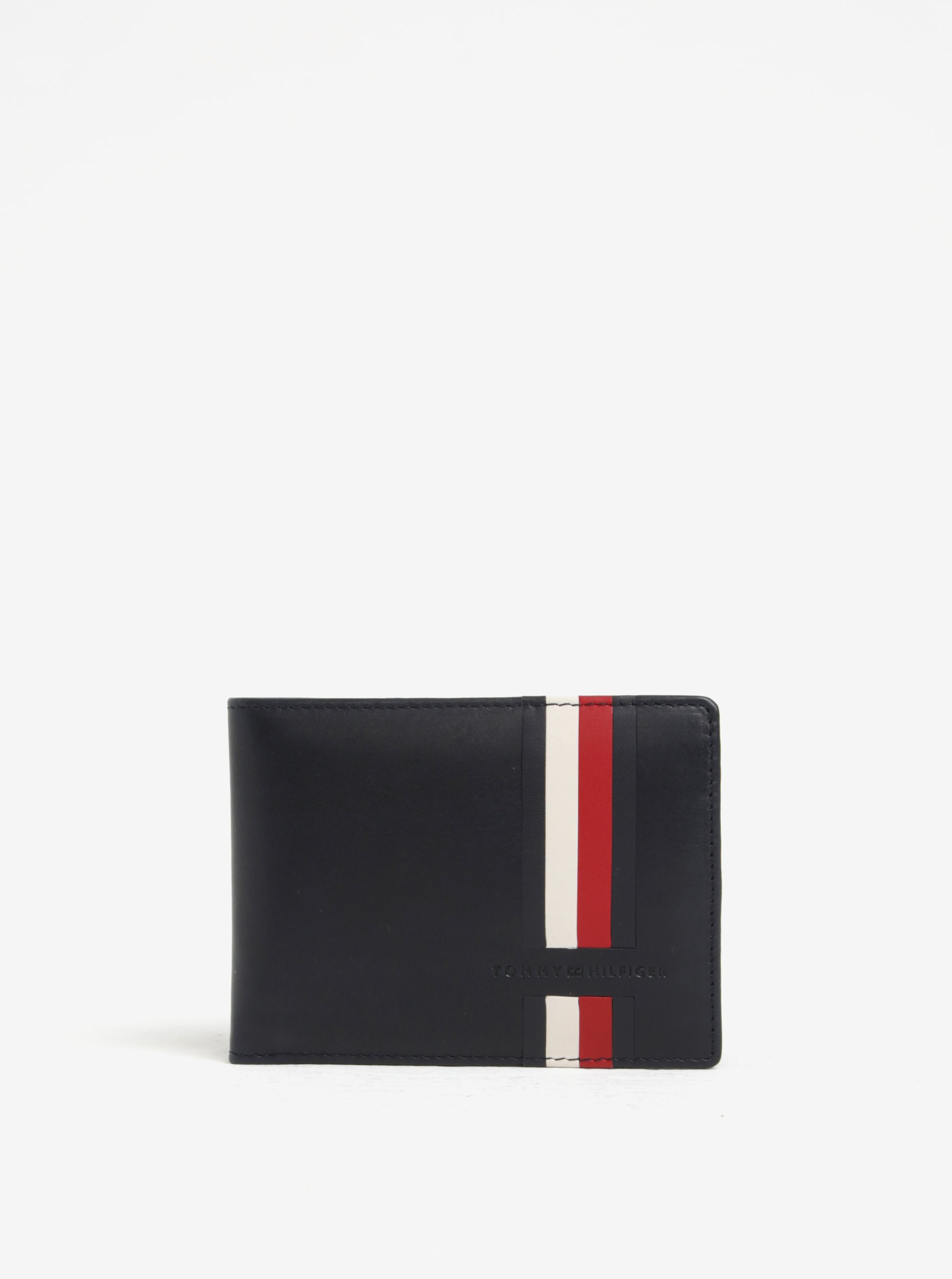 Tmavě modrá pánská kožená peněženka s pruhy Tommy Hilfiger