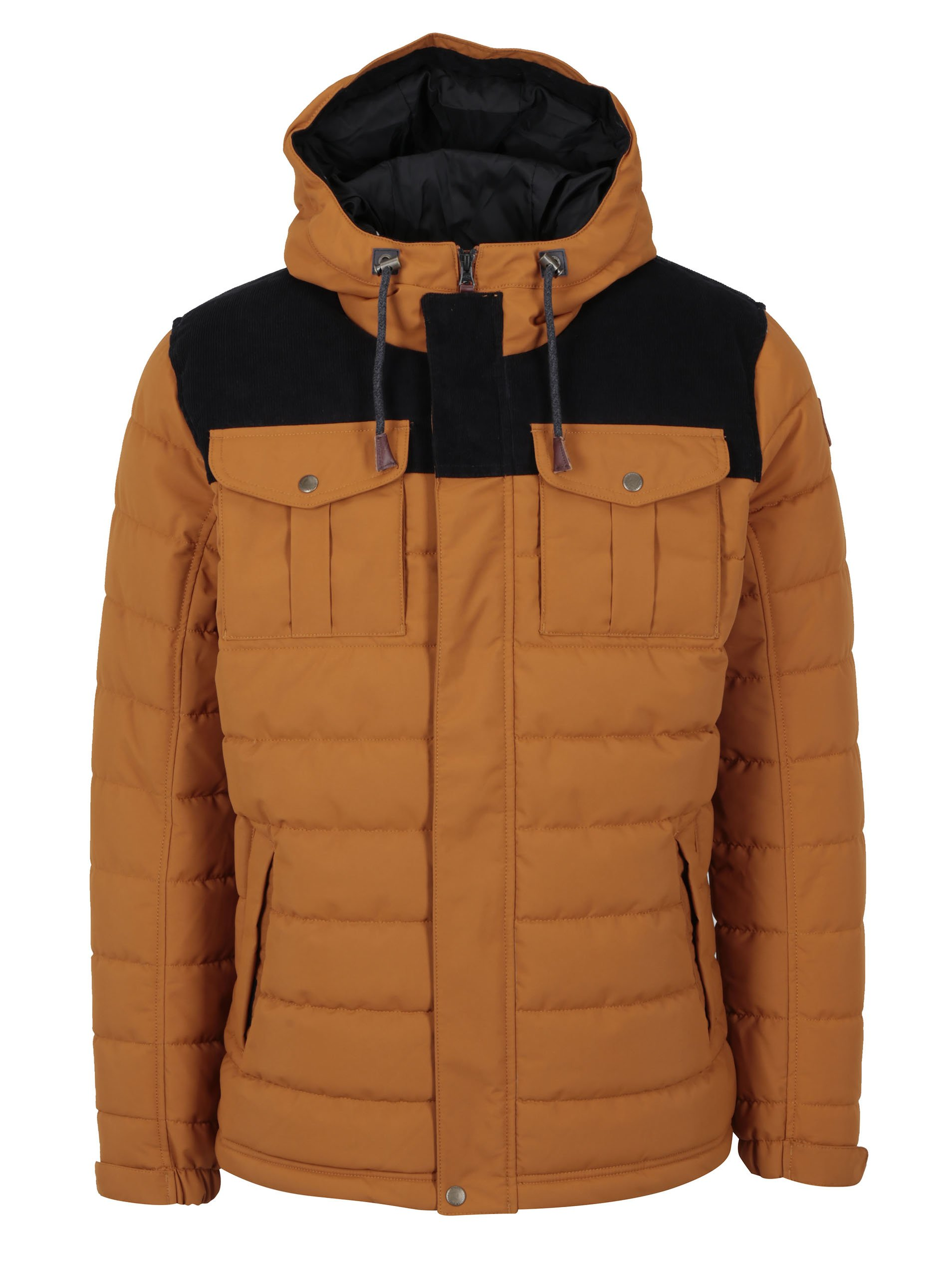Hnědá zimní prošívaná voděodolná bunda s kapucí O'Neill